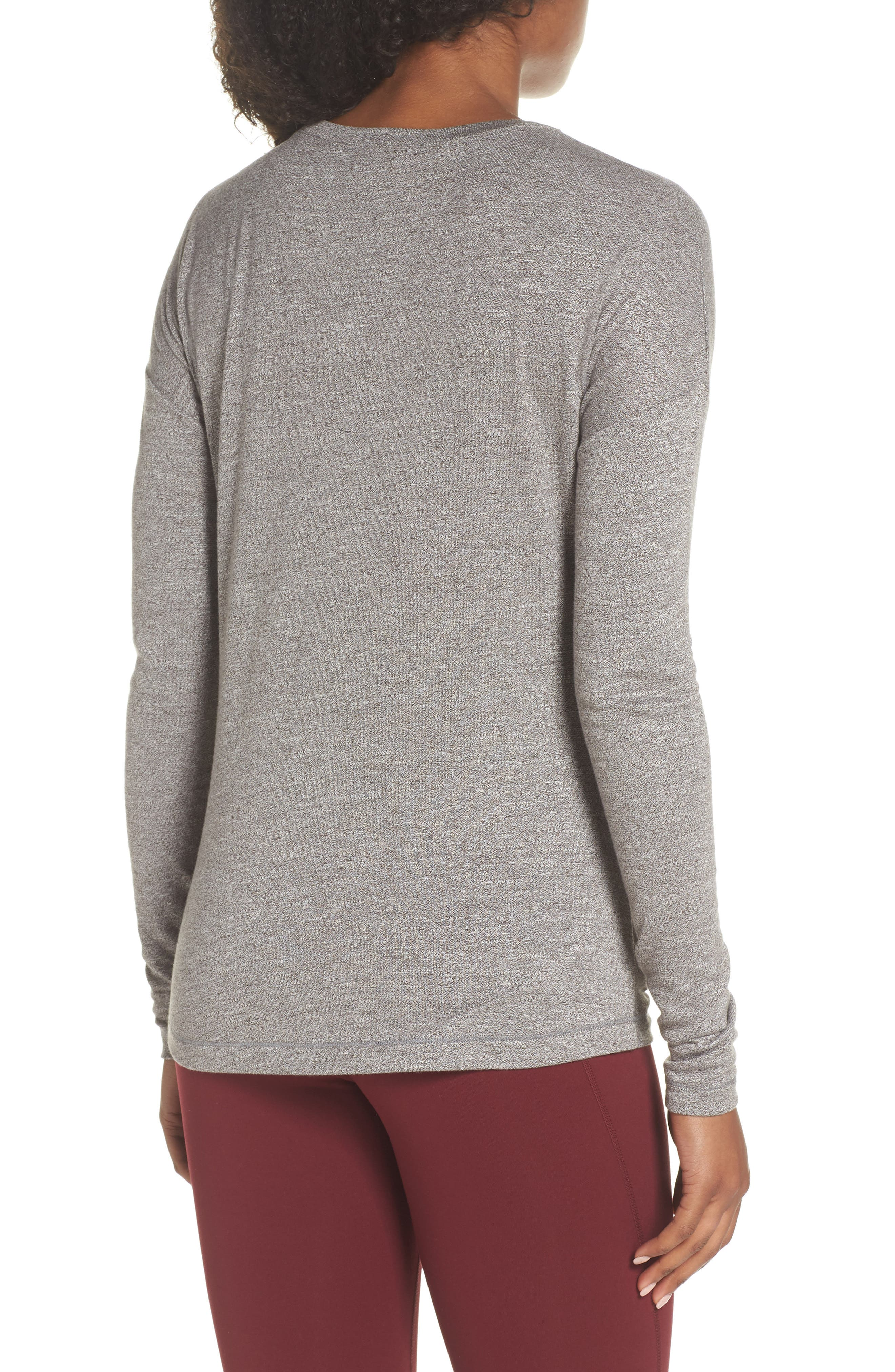 So Graceful Ruched Tee,                             Alternate thumbnail 2, color,                             GREY DARK HEATHER