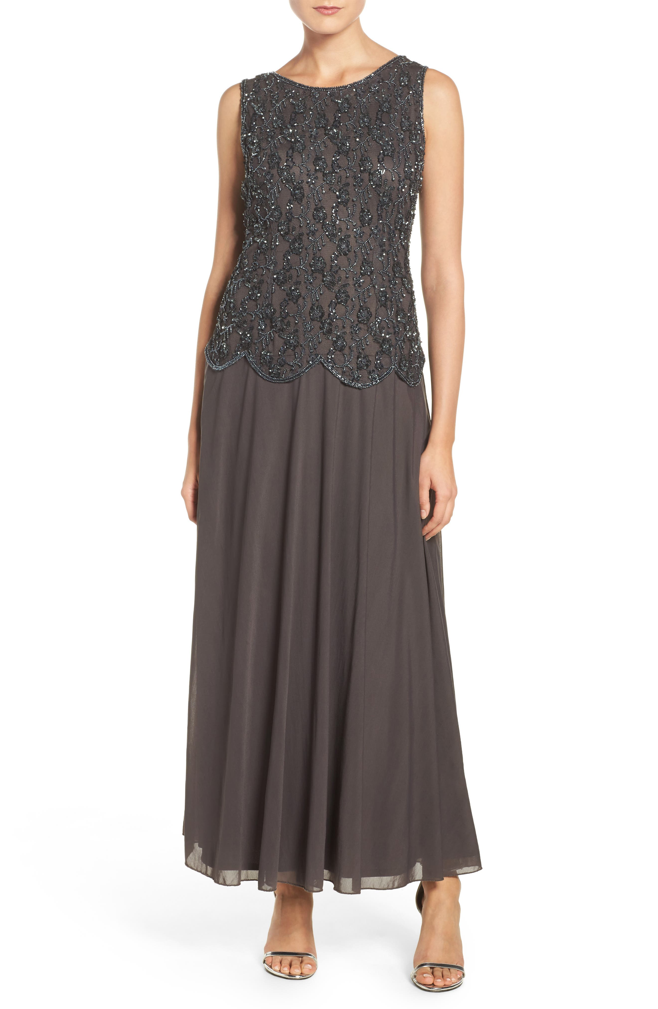 Embellished Mesh Gown,                             Alternate thumbnail 2, color,                             020