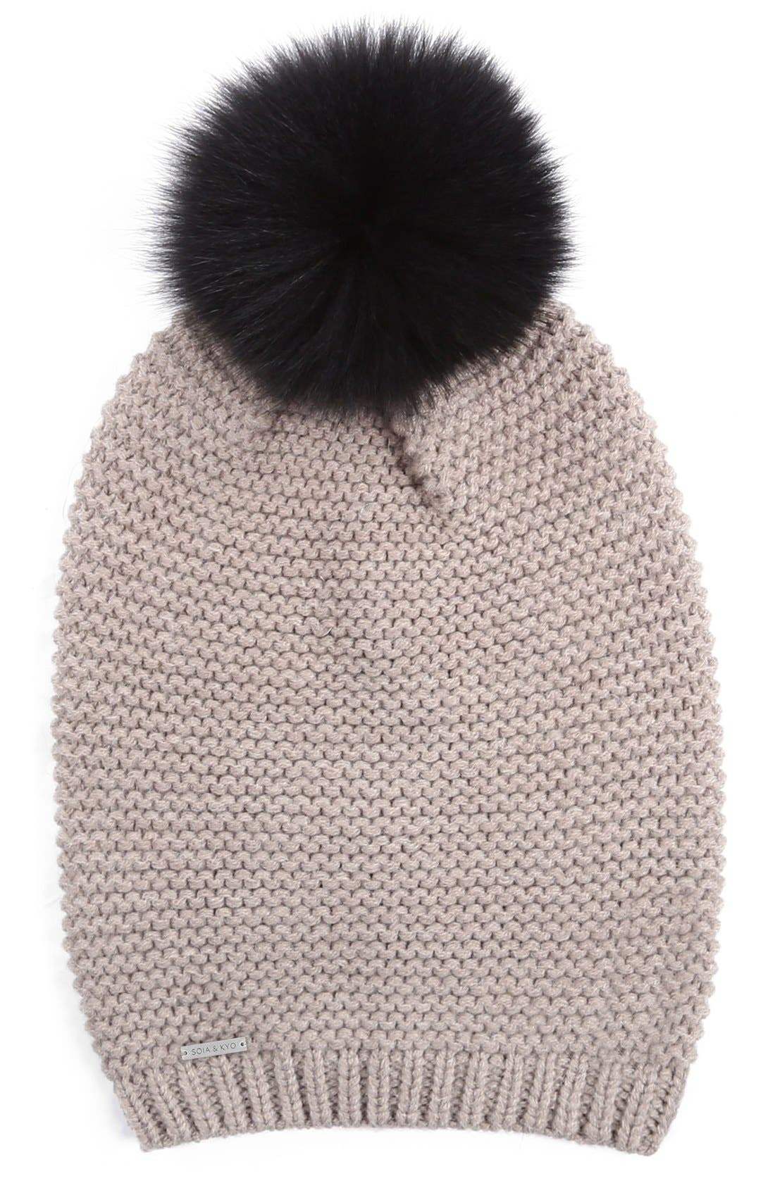 Slouchy Knit Beanie with Genuine Fox Fur Pompom,                             Main thumbnail 4, color,