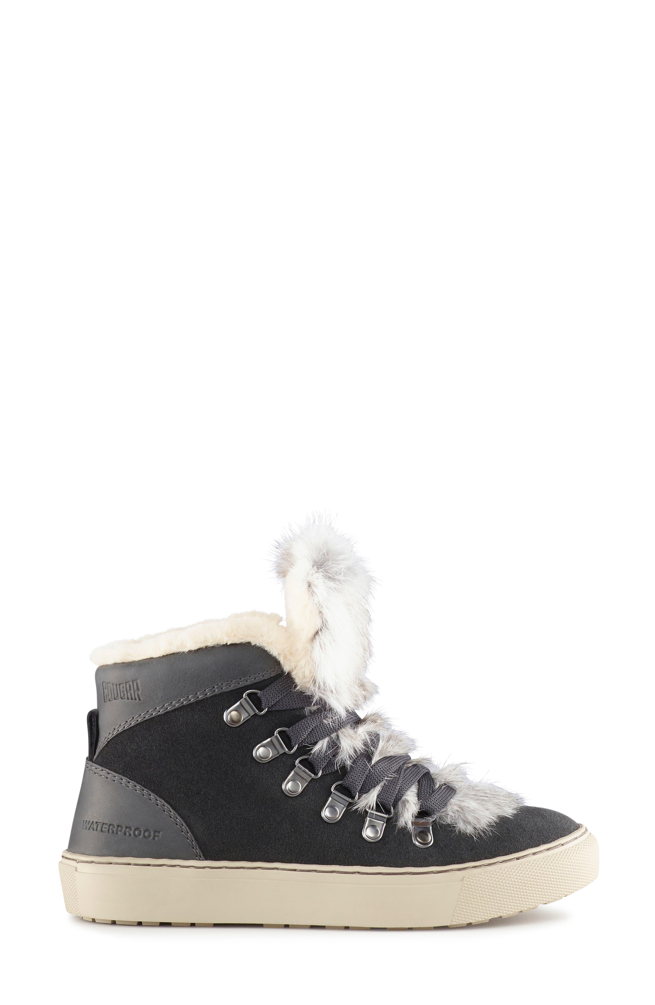 COUGAR,                             Dani High Top Sneaker with Genuine Rabbit Fur Trim,                             Alternate thumbnail 2, color,                             PEWTER SUEDE