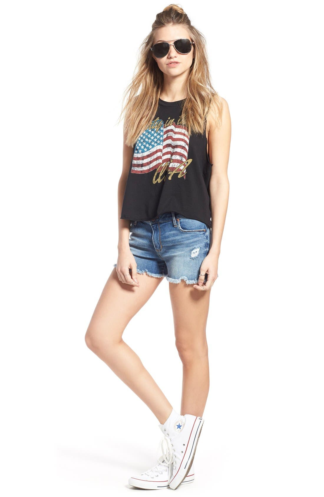 Distressed Cutoff Denim Shorts,                             Alternate thumbnail 5, color,                             994