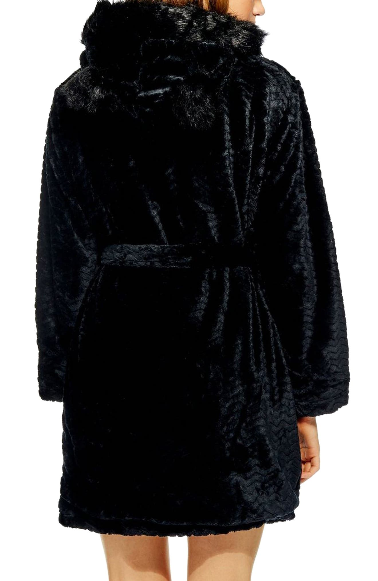 Kimmie Hooded Short Robe,                             Alternate thumbnail 2, color,                             BLACK