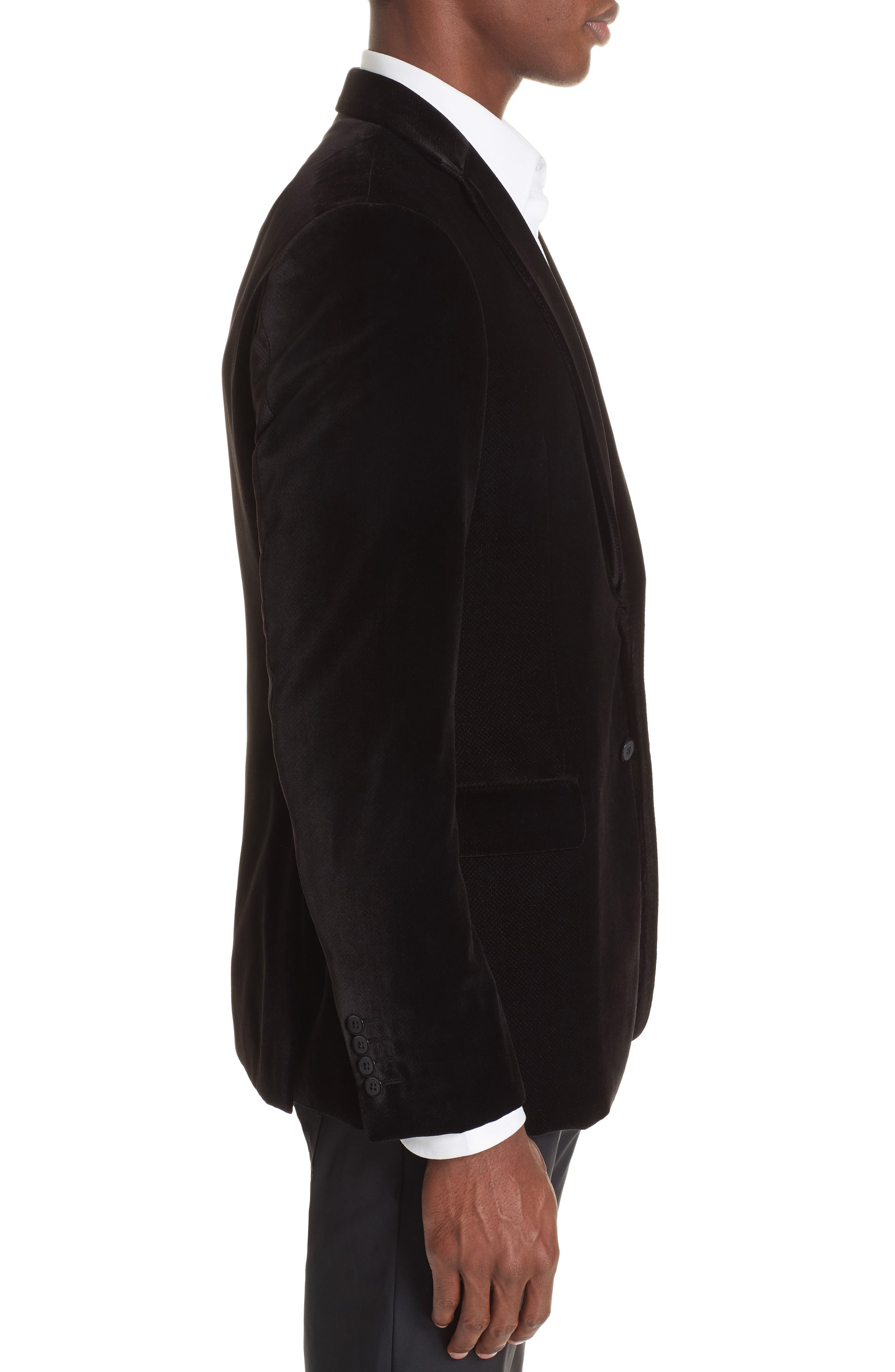 G-Line Trim Fit Velvet Blazer,                             Alternate thumbnail 3, color,                             BLACK