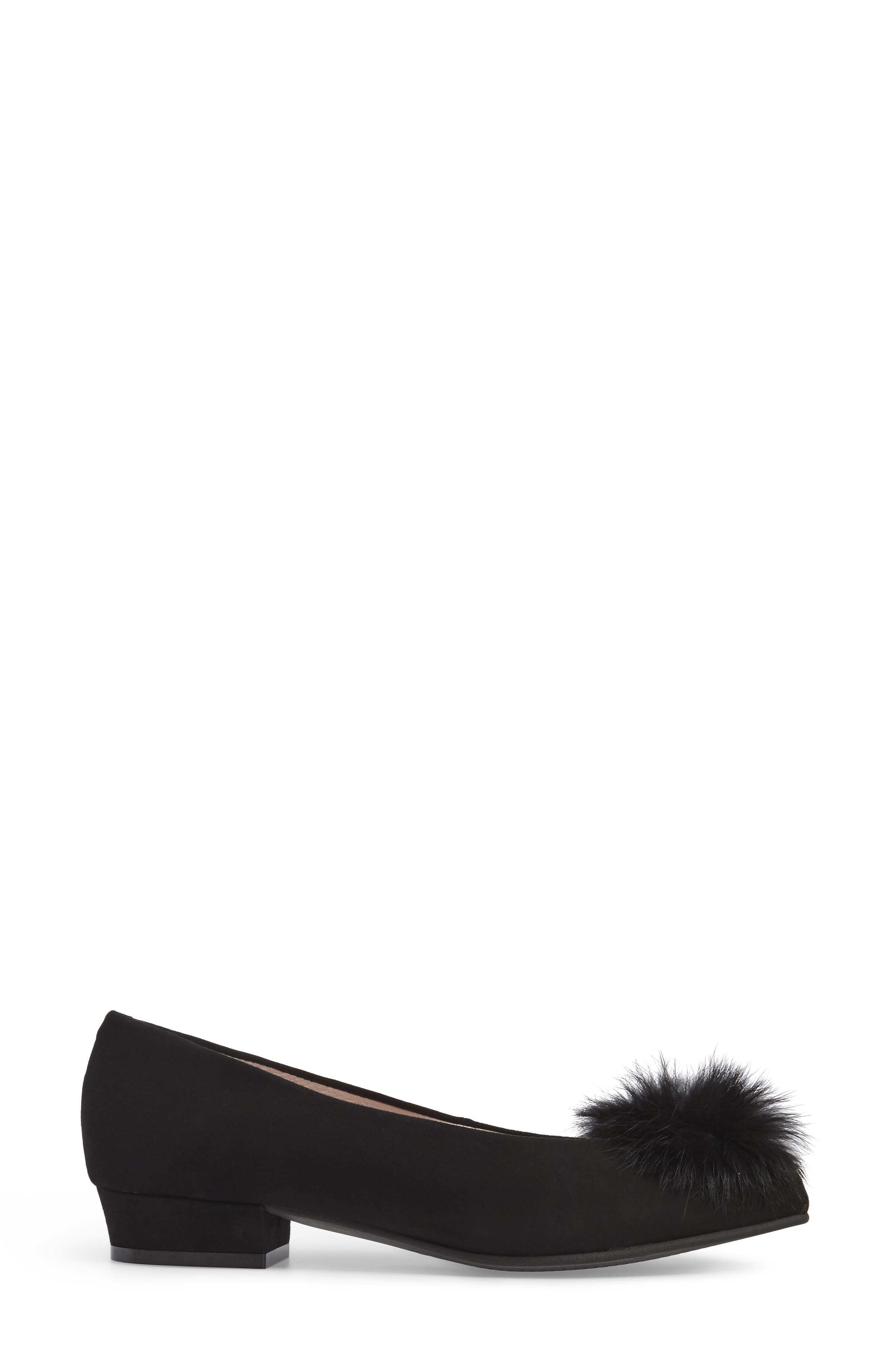Sandy Flat with Genuine Rabbit Fur Pom,                             Alternate thumbnail 3, color,                             001