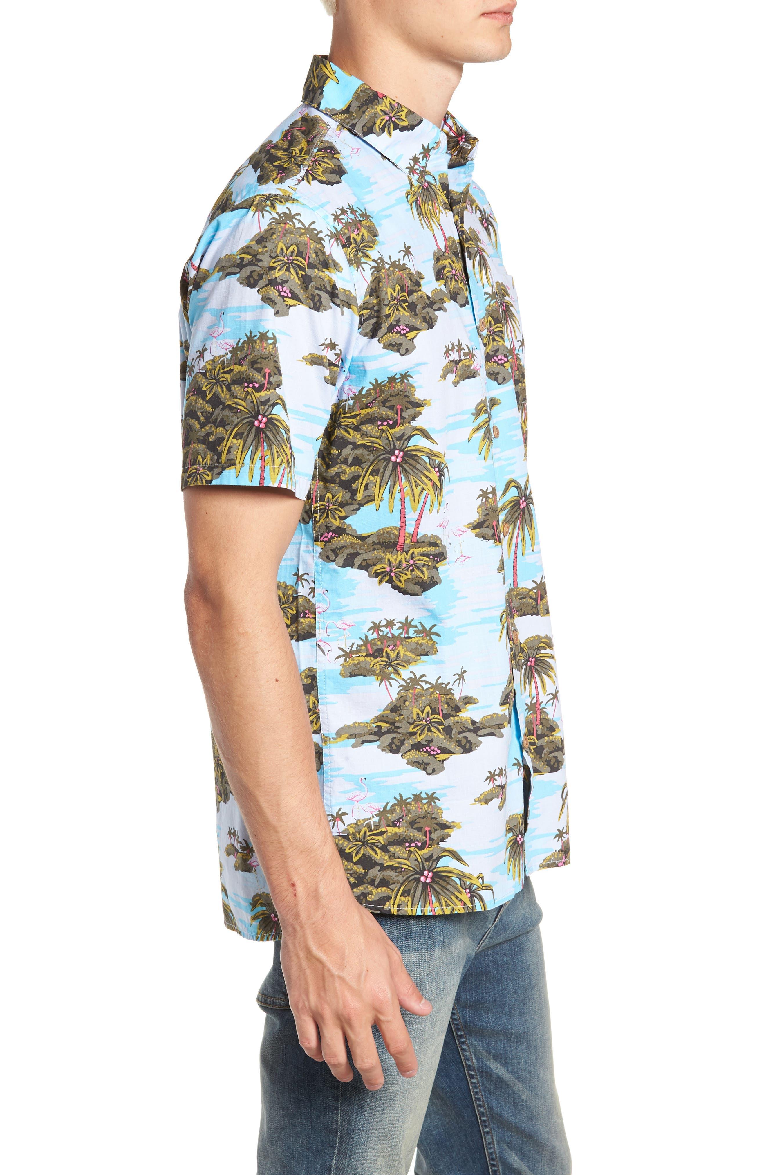 Garage Palm Tree Woven Shirt,                             Alternate thumbnail 4, color,                             OCEAN BLISS