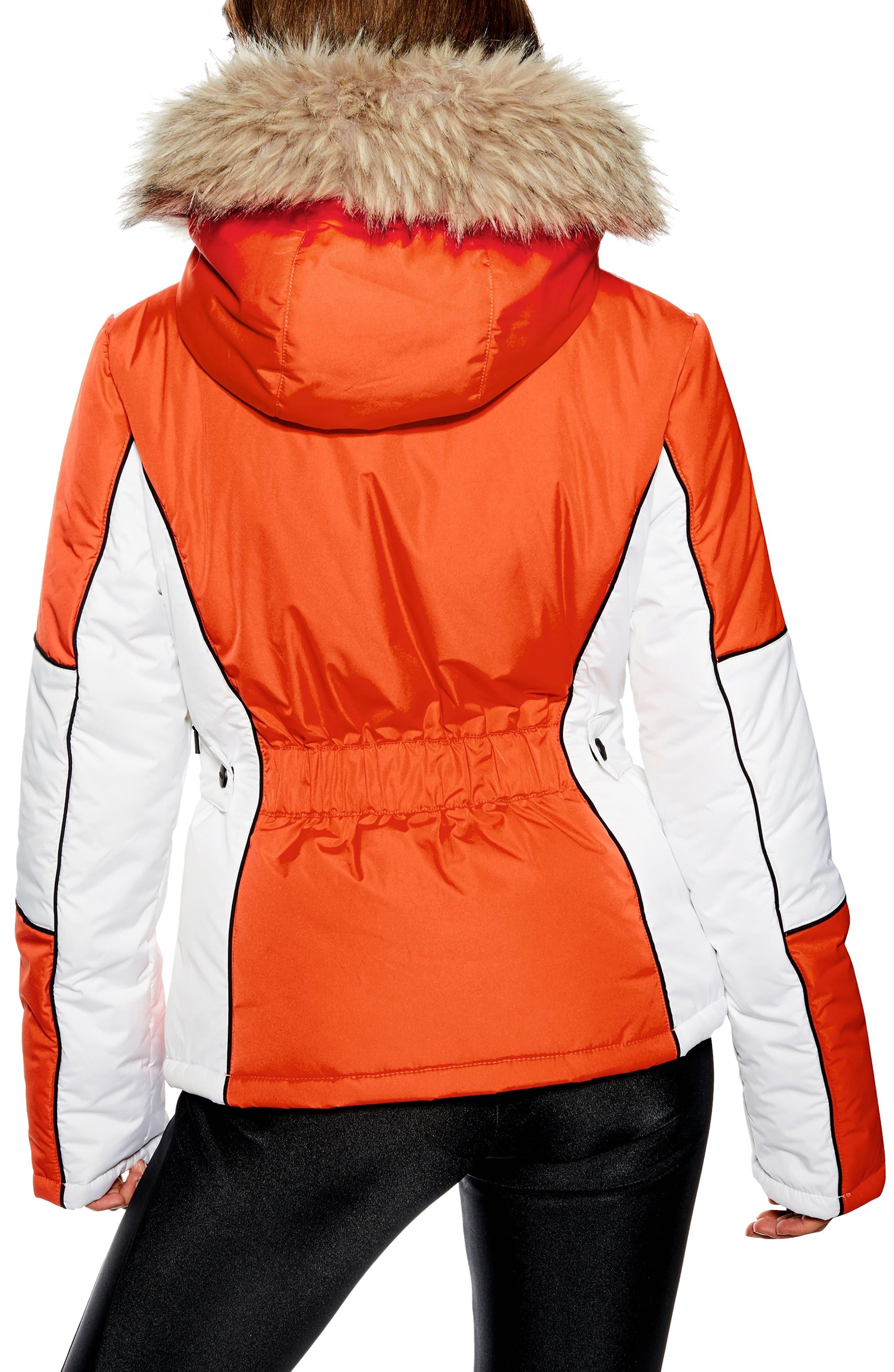 Sno Faux Fur Trim Puffer Jacket,                             Alternate thumbnail 2, color,                             ORANGE MULTI