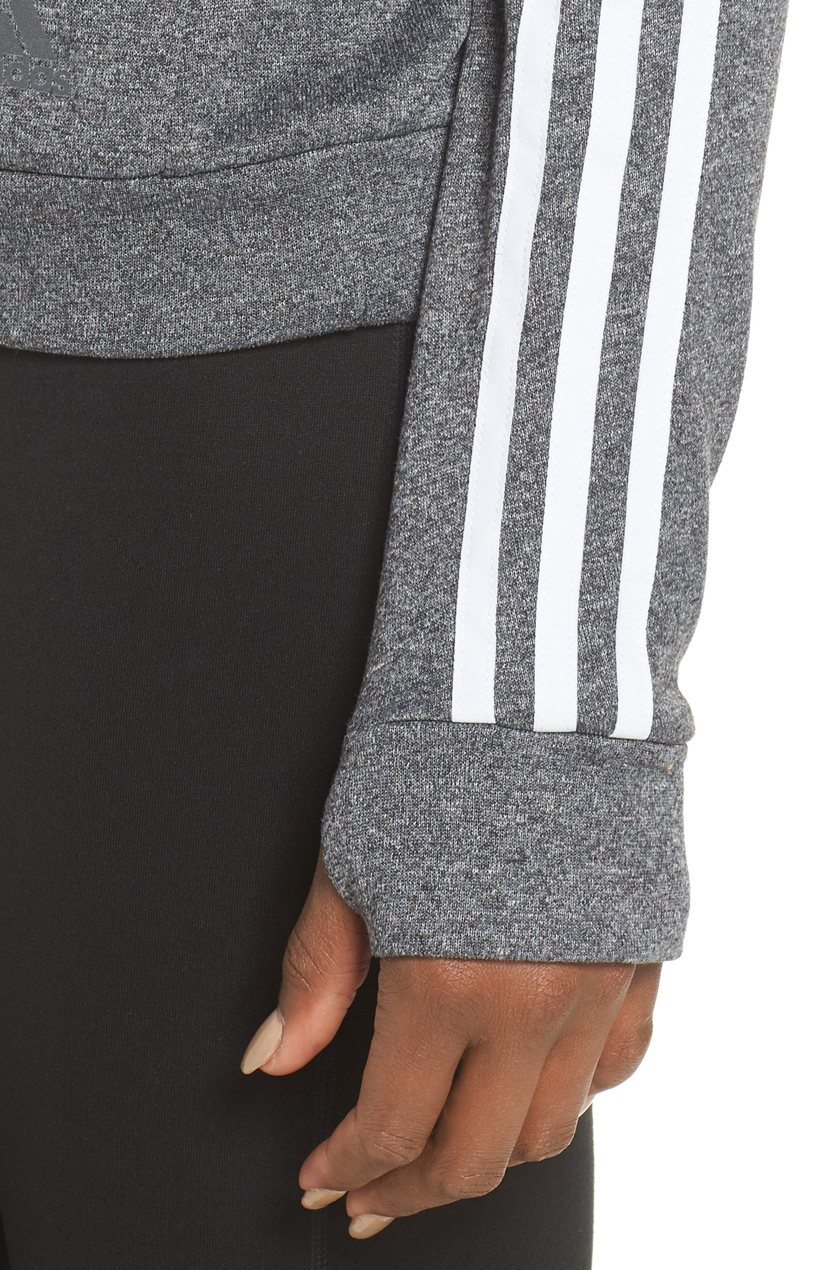 3-Stripes Running Sweatshirt,                             Alternate thumbnail 4, color,                             DARK GREY HEATHER