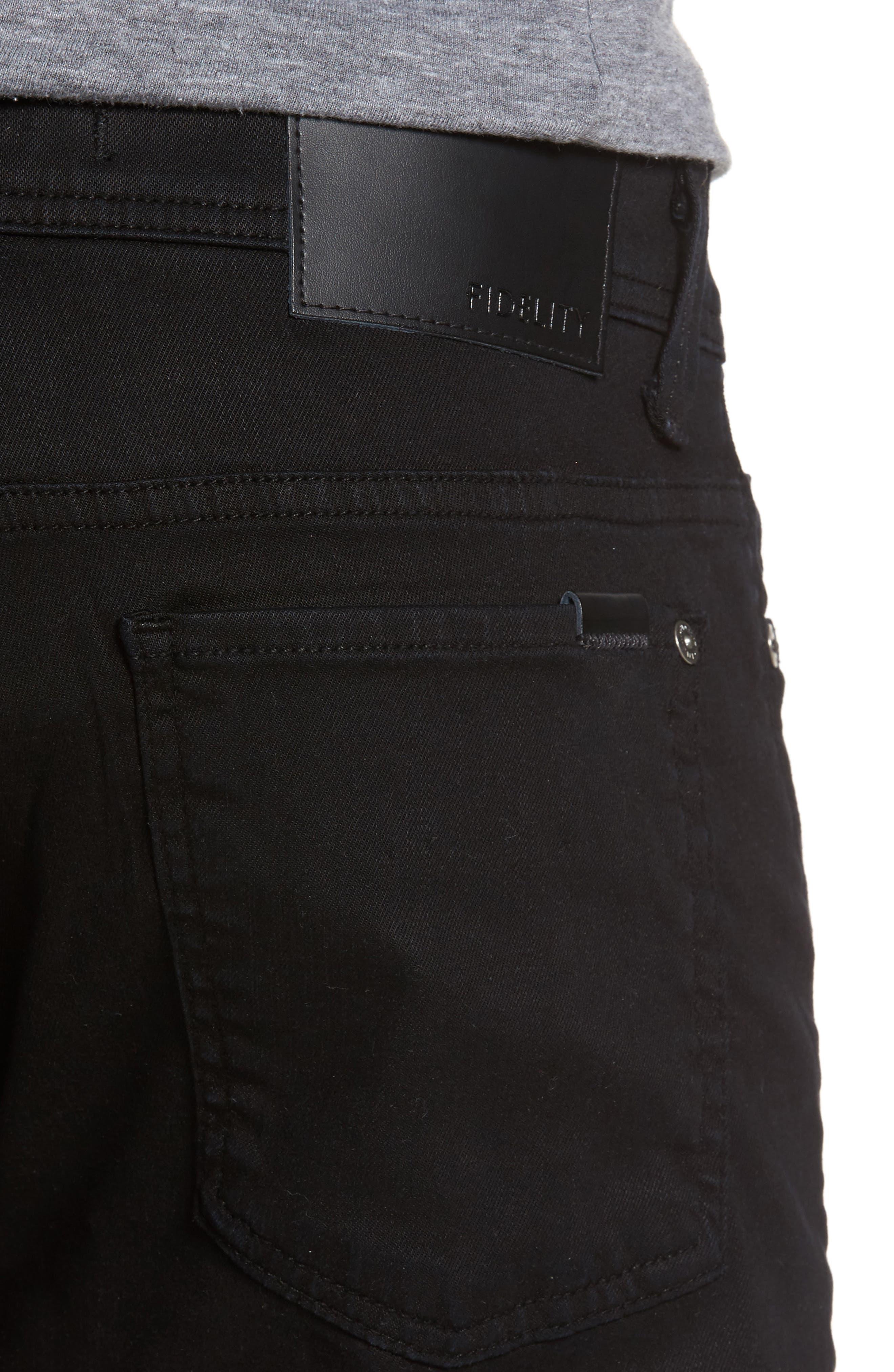Jimmy Lumina Slim Straight Leg Twill Pants,                             Alternate thumbnail 4, color,                             BLACK