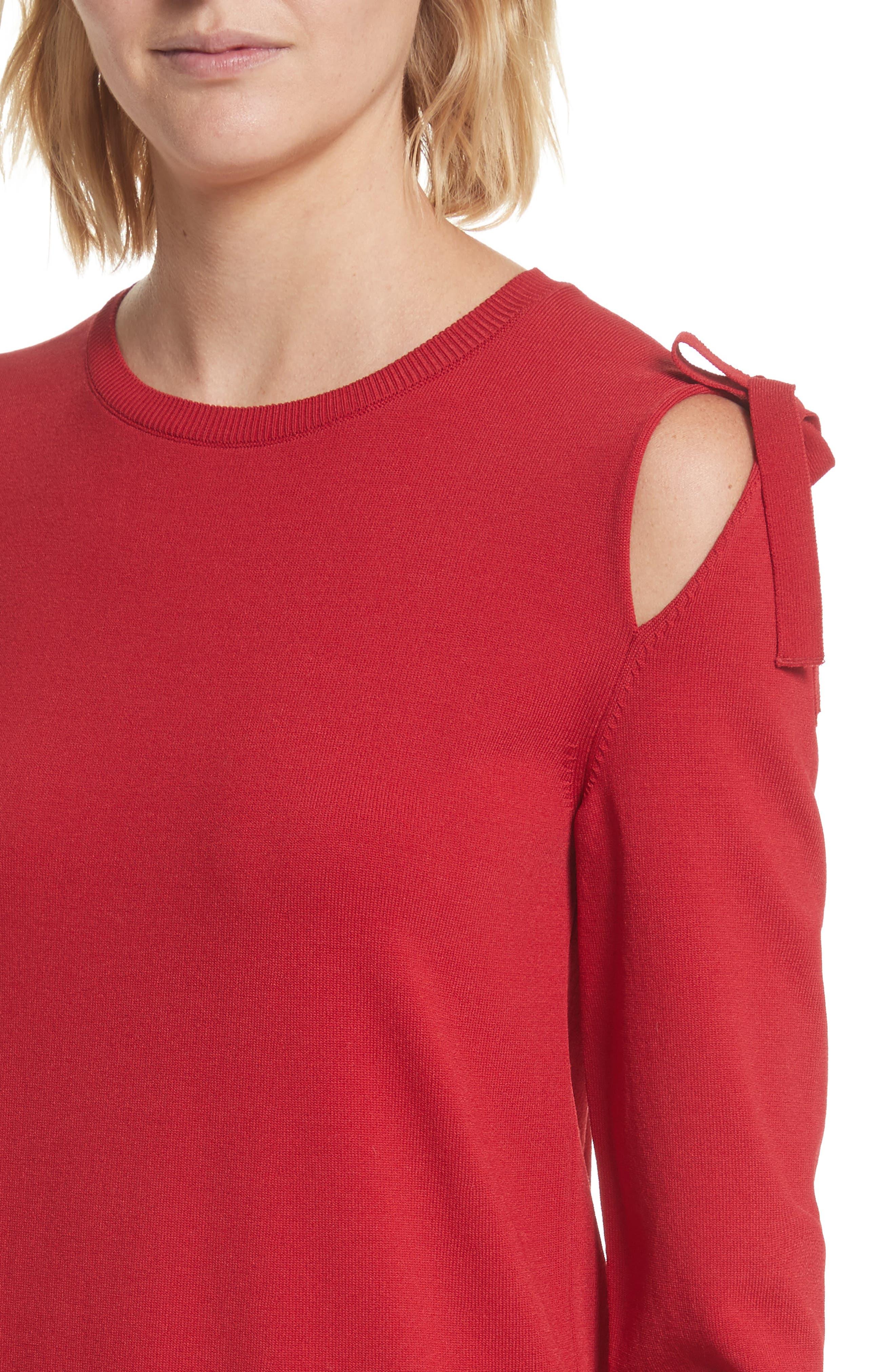 Bow Knit Dress,                             Alternate thumbnail 4, color,                             610