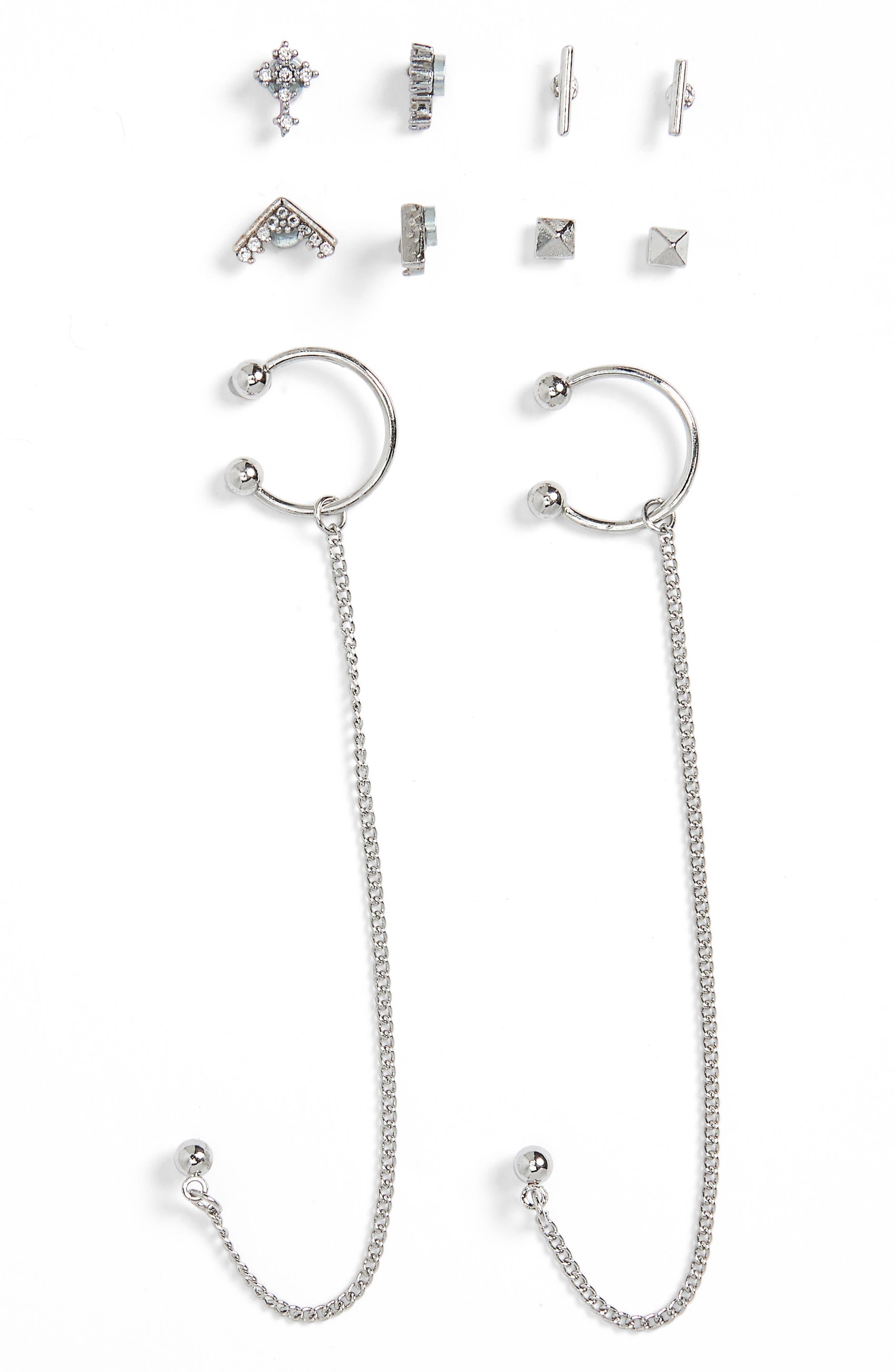 Set of 5 Stud & Chain Earrings,                             Main thumbnail 1, color,                             040