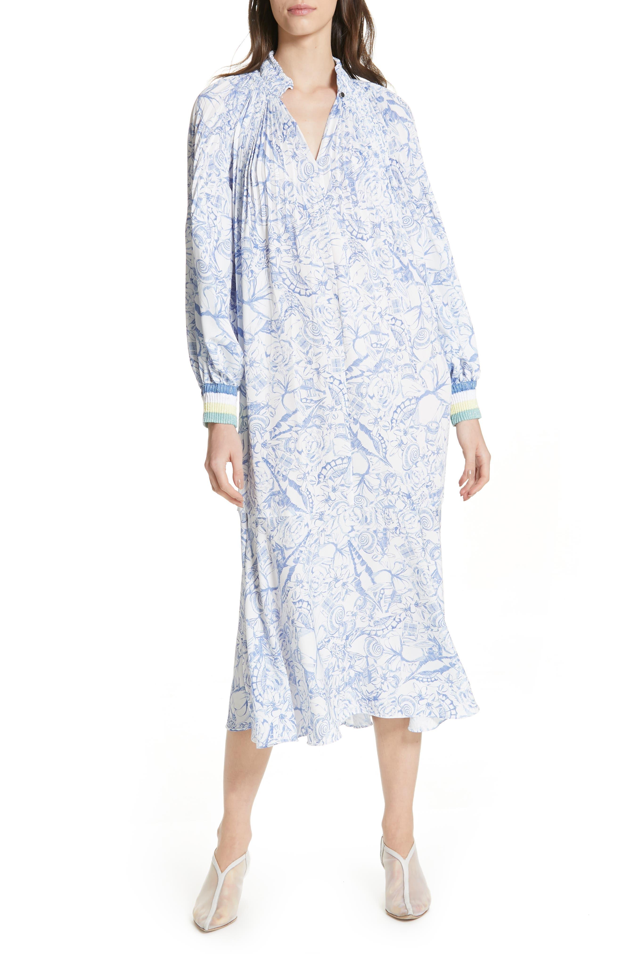 Tibi Isa Toile Print Ribbed Cuff Midi Dress, White
