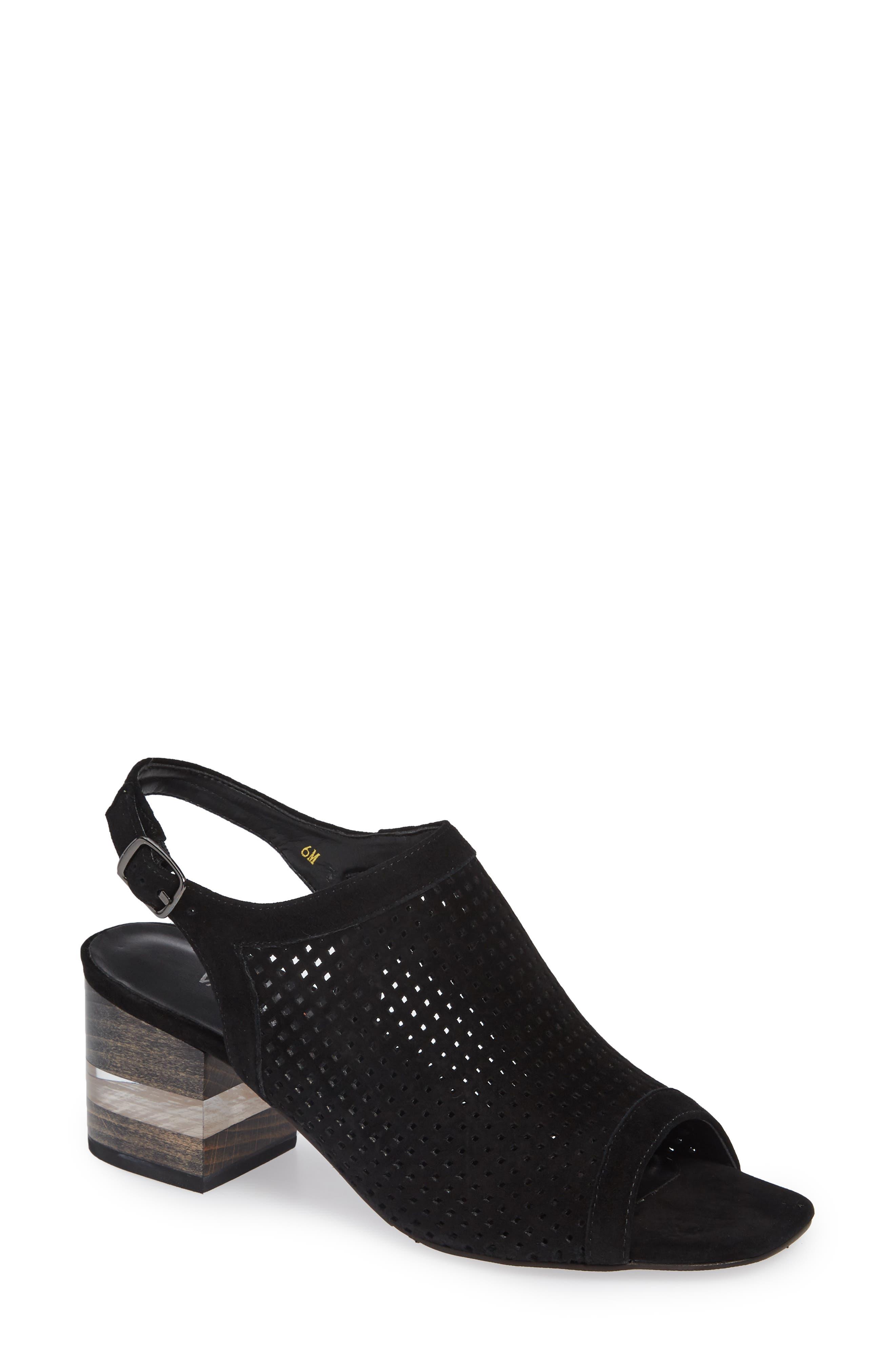 Elija Slingback Sandal,                         Main,                         color, BLACK PERFORATED SUEDE