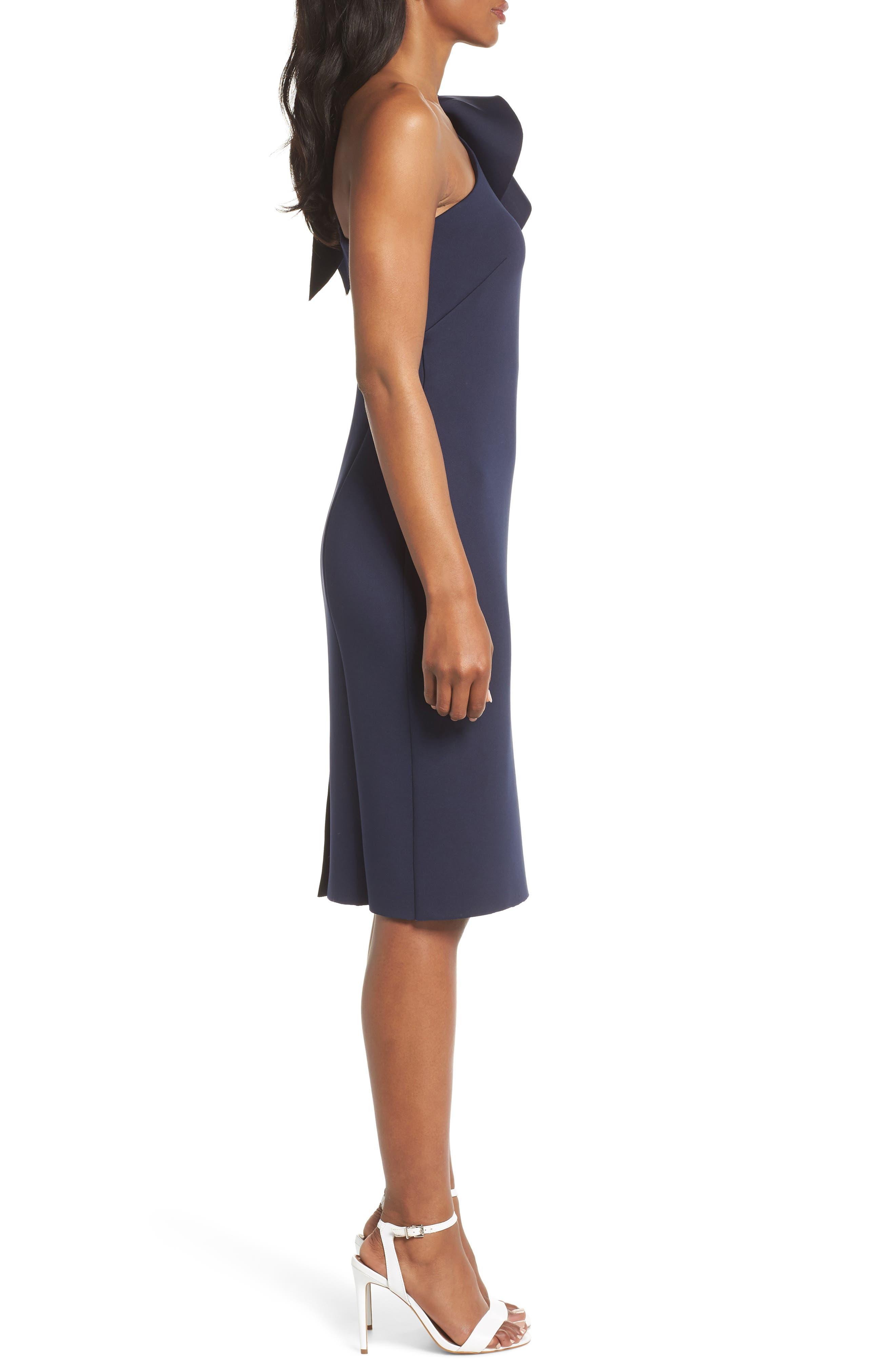 One-Shoulder Ruffle Sheath Dress,                             Alternate thumbnail 3, color,                             NAVY