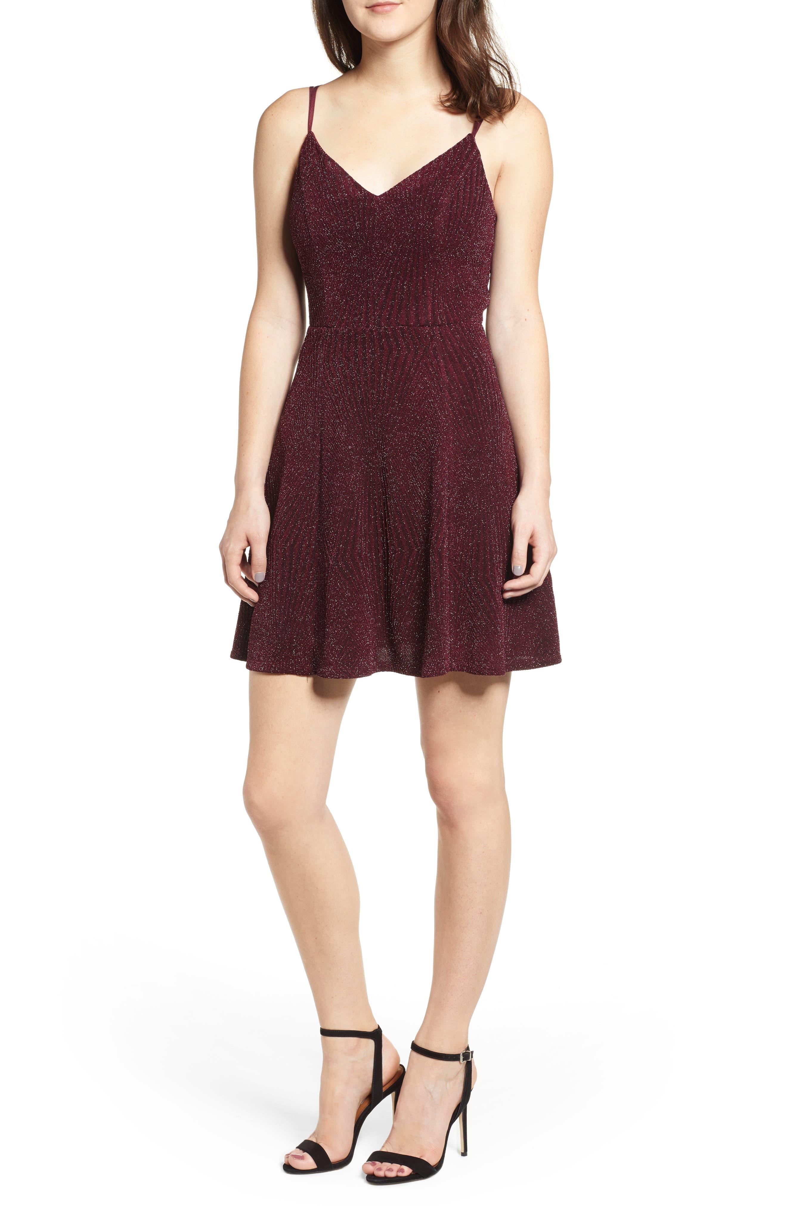 Glitter Knit Strappy Skater Dress,                             Main thumbnail 1, color,                             200