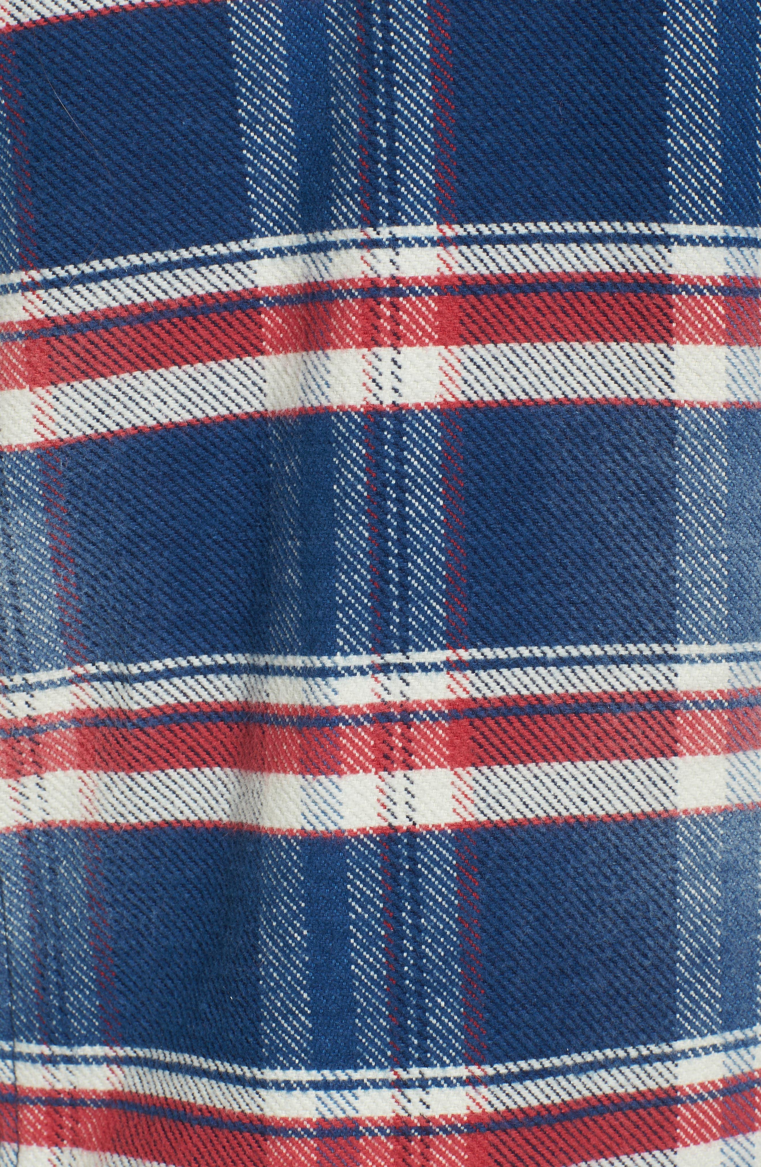Ella Plaid Denim Jacket with Faux Shearling Collar,                             Alternate thumbnail 6, color,                             479