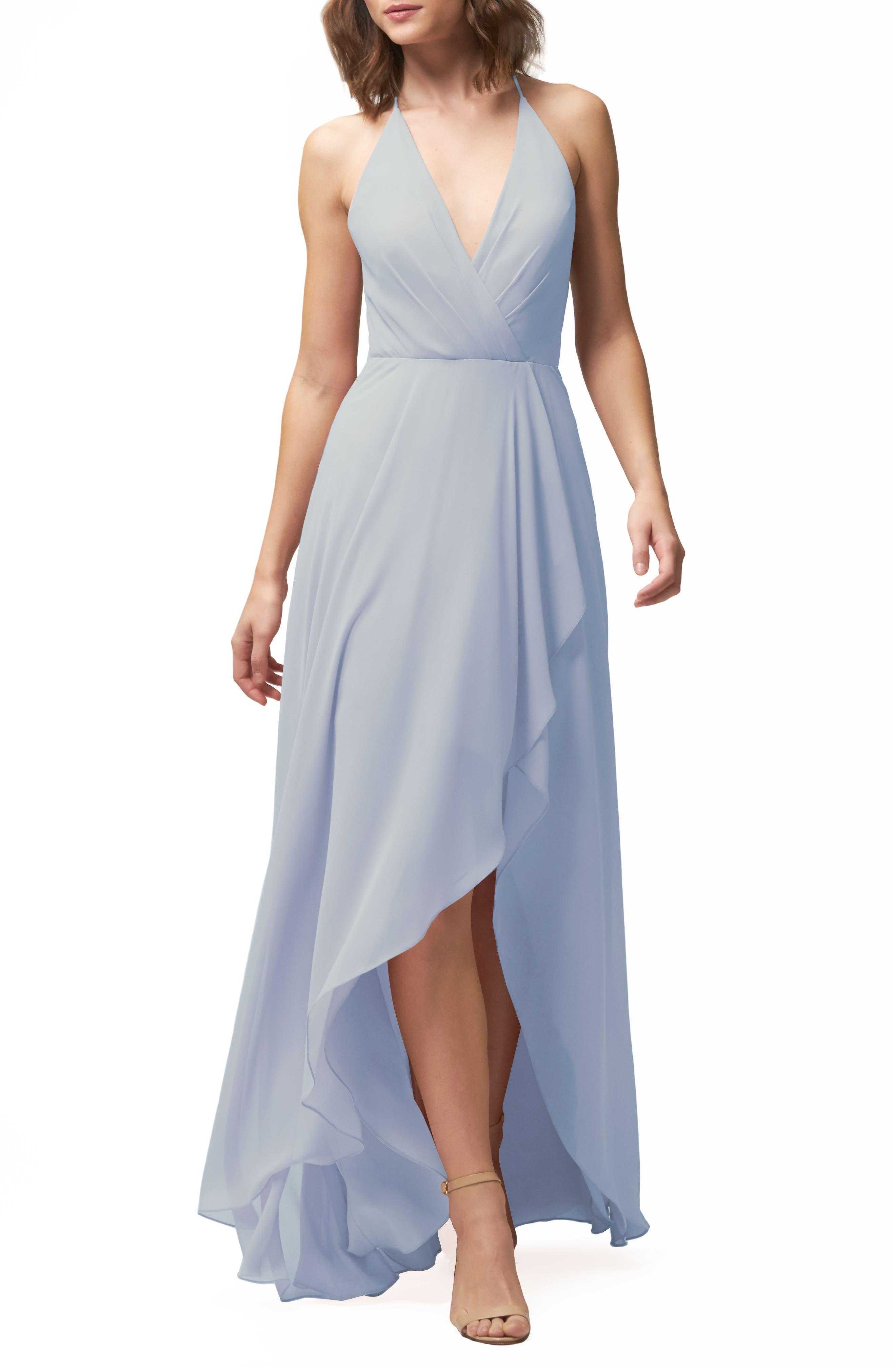 JENNY YOO, Farrah Ruffle Chiffon Gown, Alternate thumbnail 6, color, WHISPER BLUE