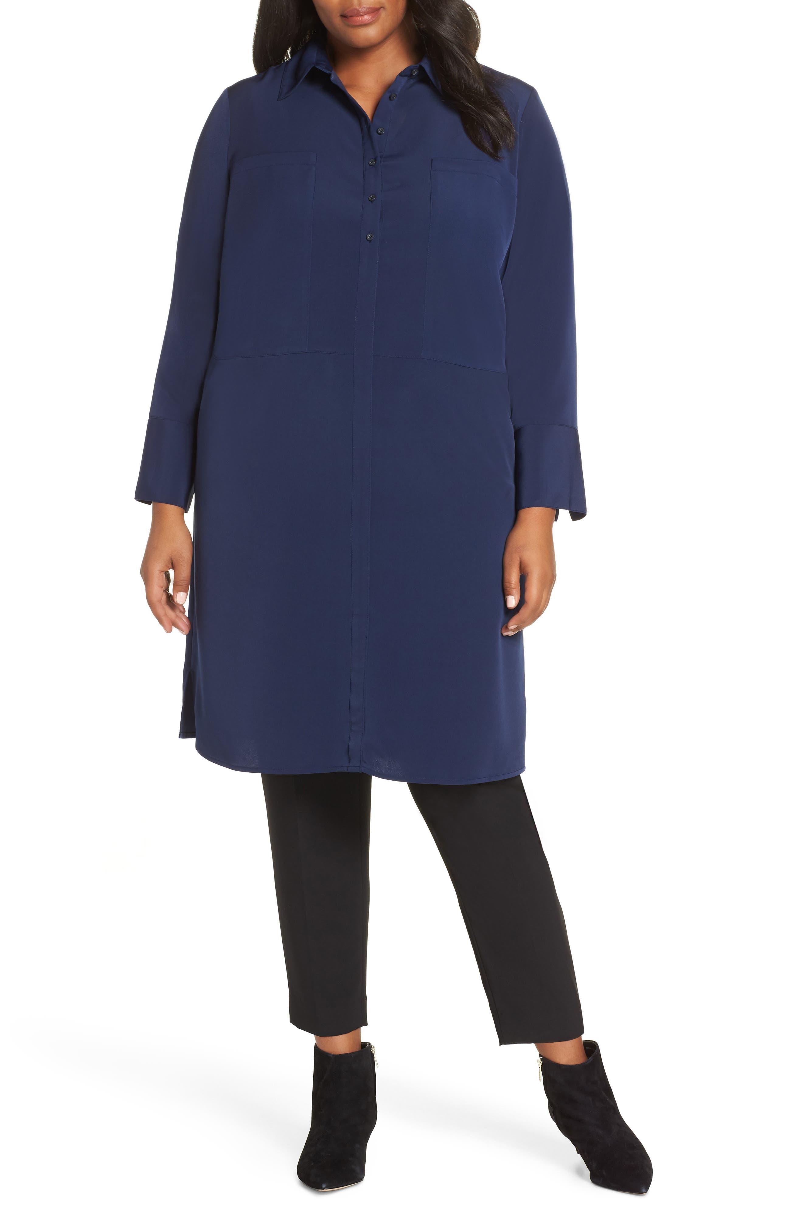Plus Size Sejour Oversize Tunic Dress, Blue