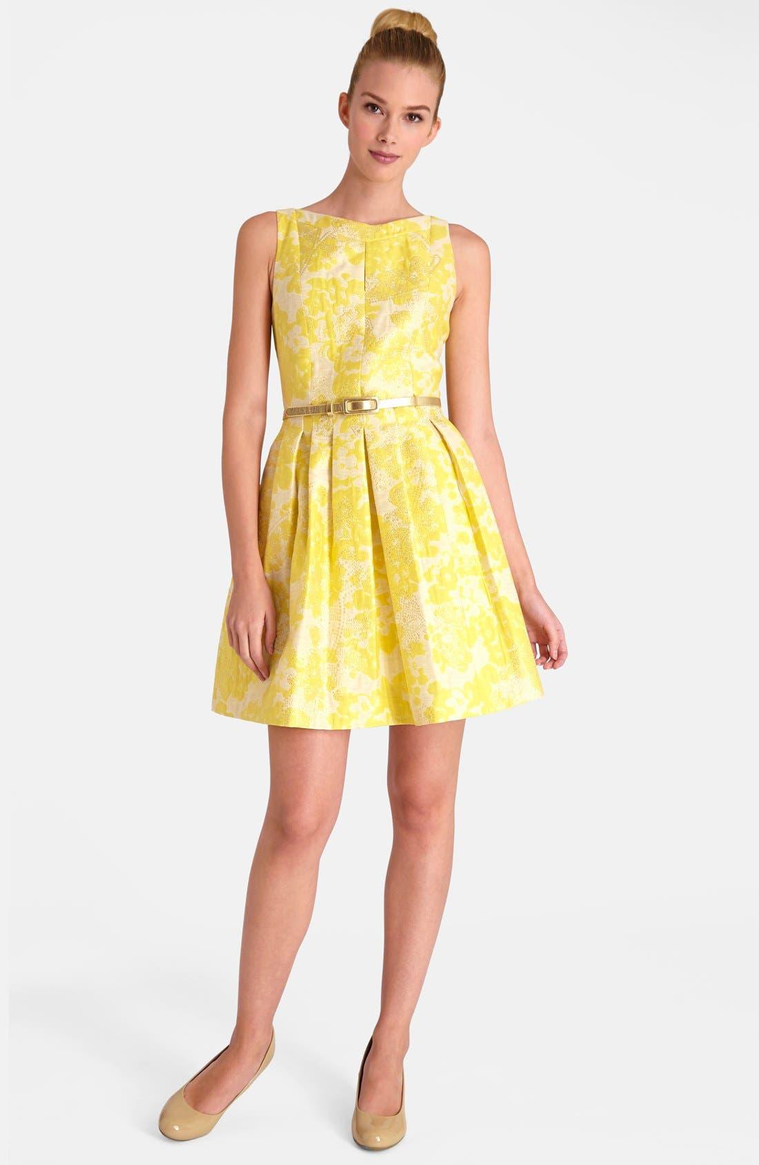 Floral Brocade Fit & Flare Dress,                             Alternate thumbnail 2, color,                             752