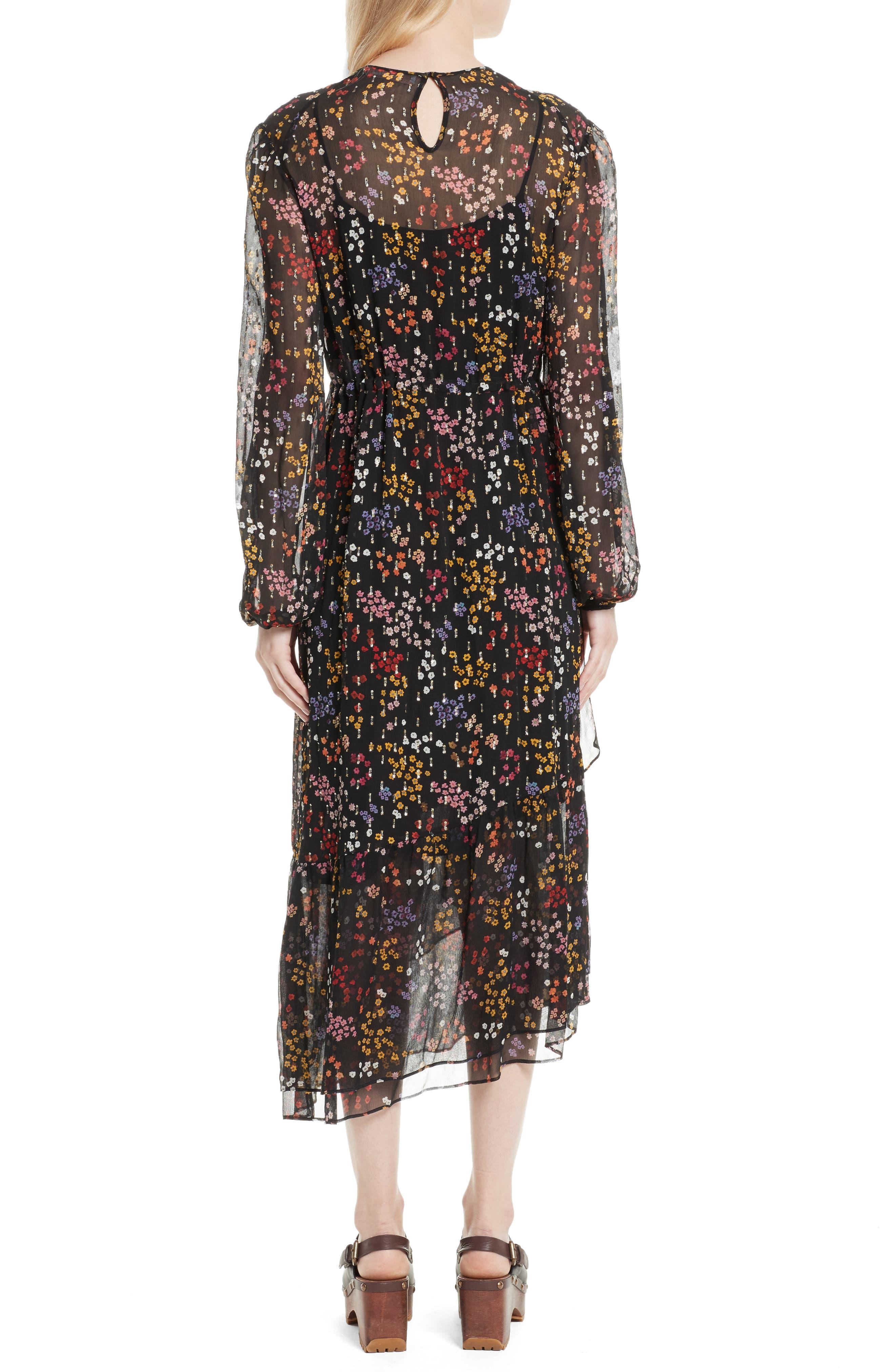 Floral Print Metallic Silk Midi Dress,                             Alternate thumbnail 2, color,                             001
