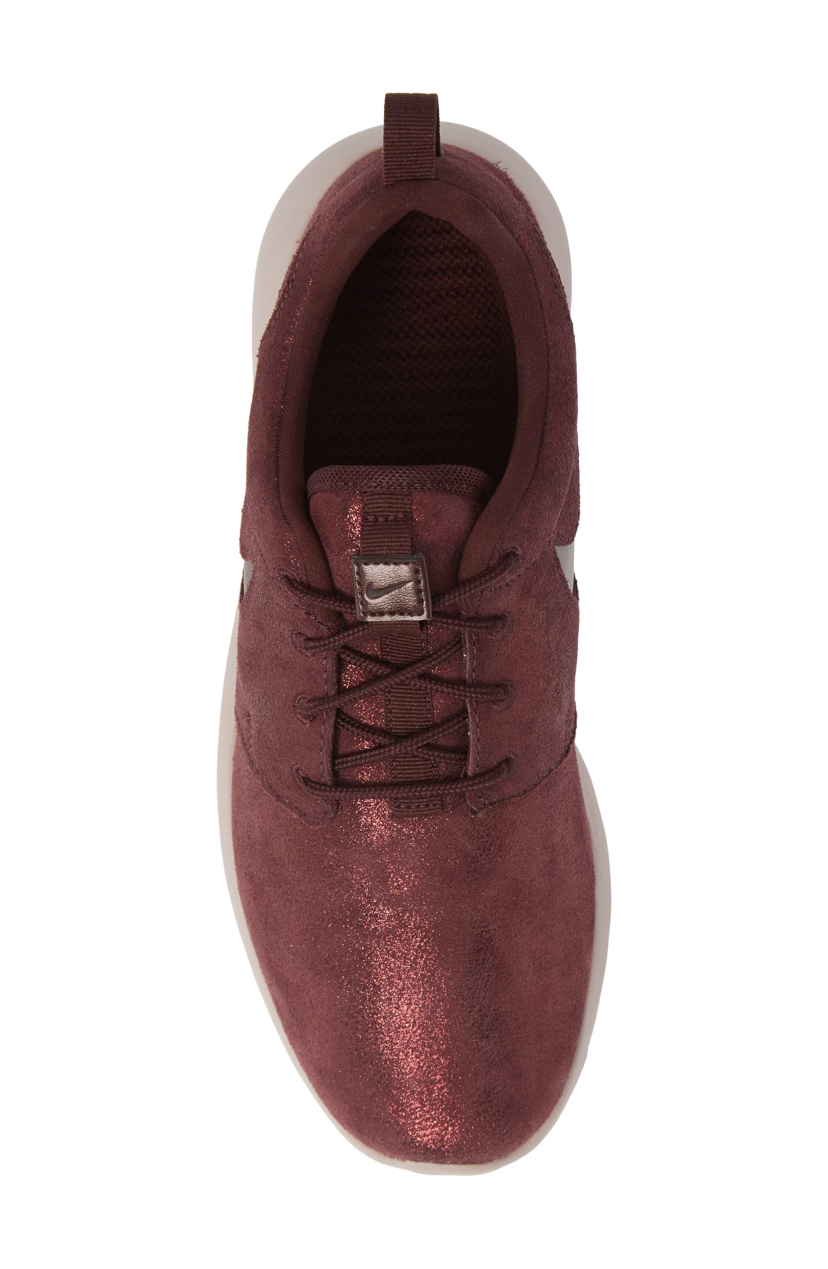 'Roshe Run' Print Sneaker,                             Alternate thumbnail 5, color,                             METALLIC MAHOGANY/ MAHOGANY