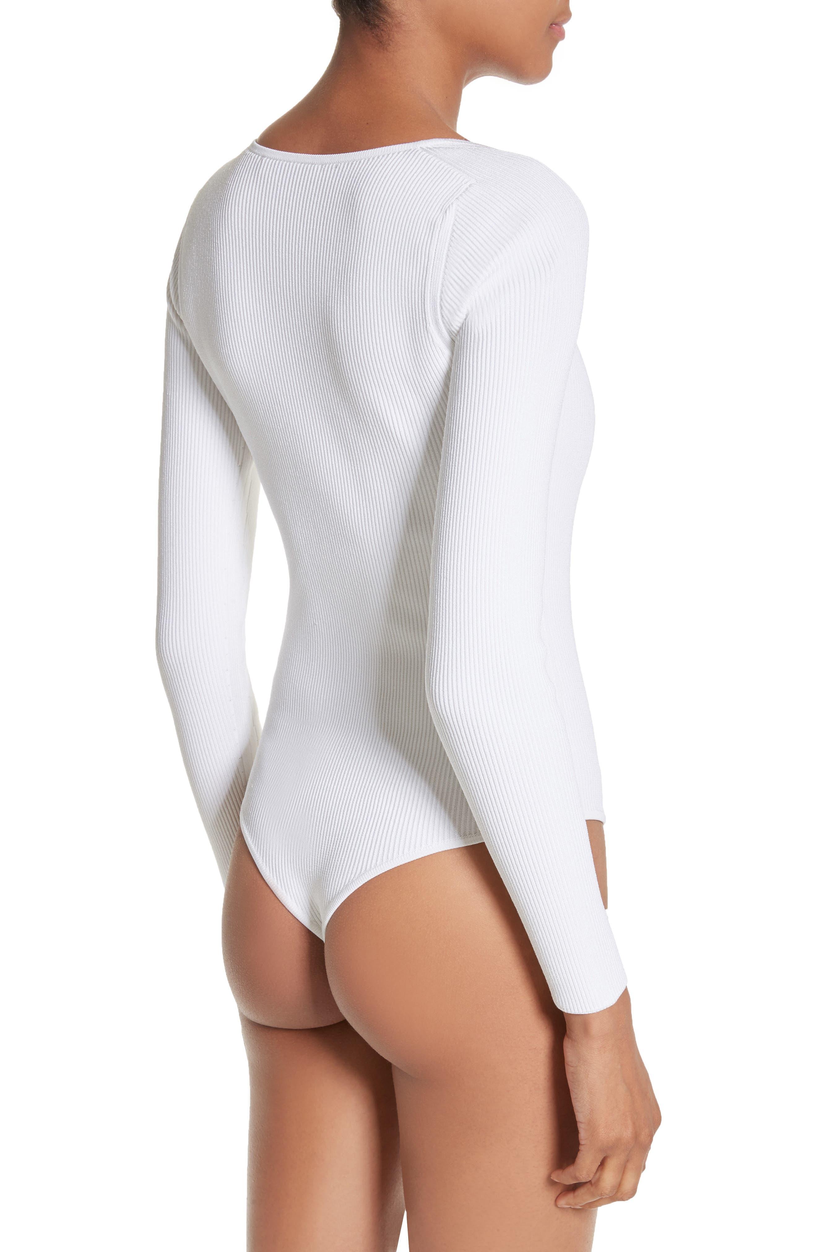 Vivian Asymmetrical Neck Knit Bodysuit,                             Alternate thumbnail 2, color,                             101