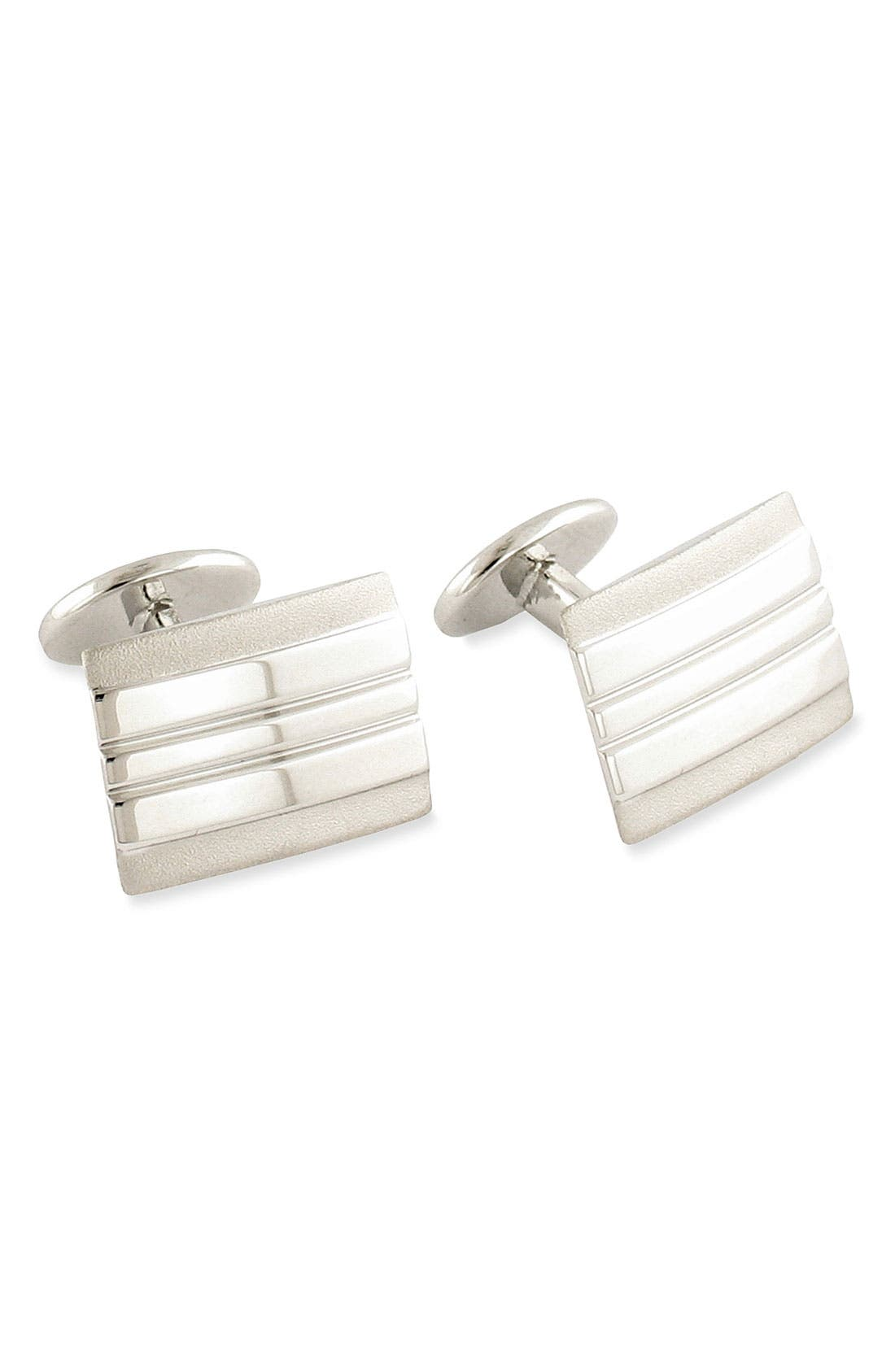Sterling Silver Cuff Links,                             Main thumbnail 1, color,                             SILVER RECTANGLE