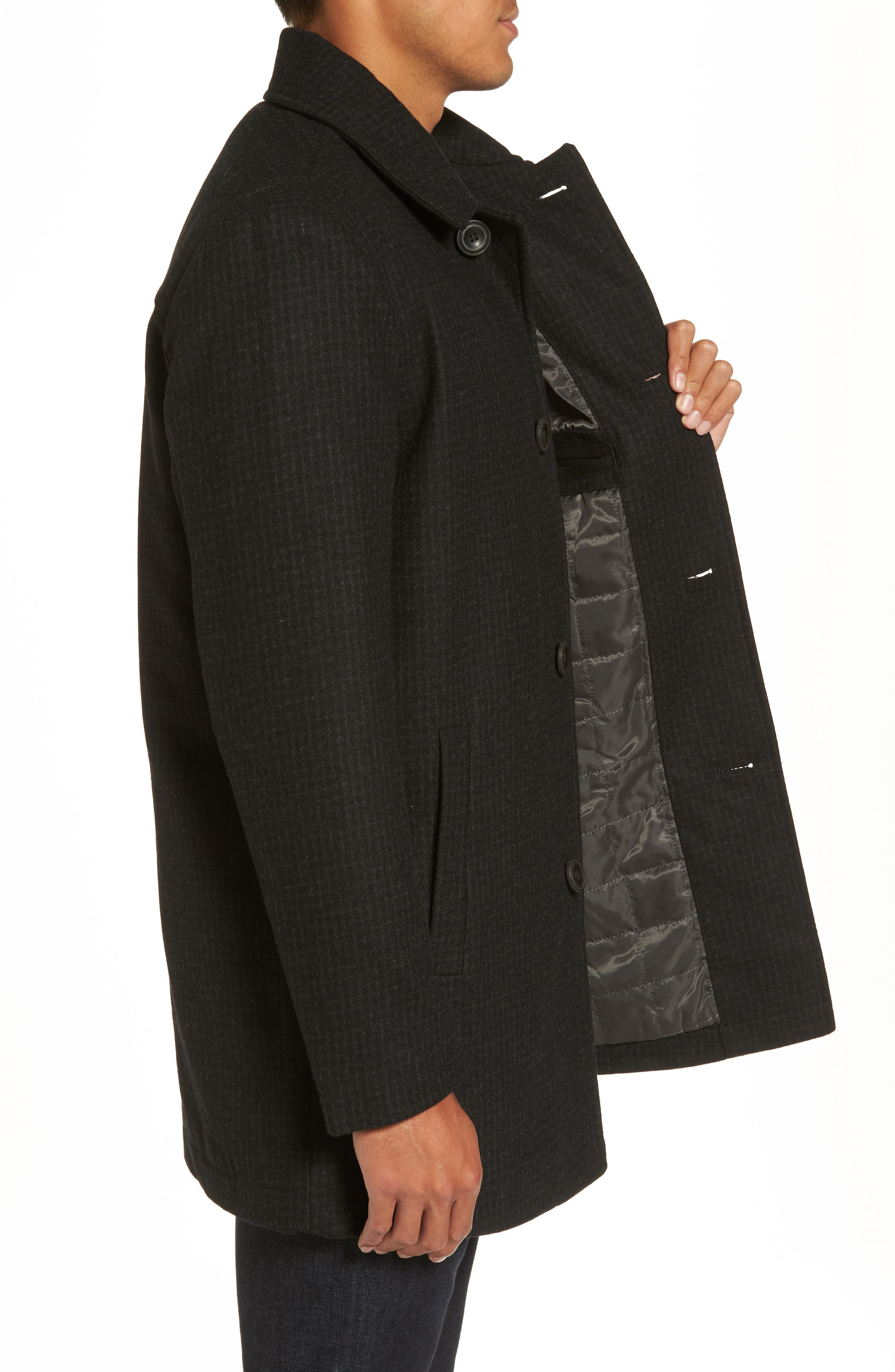 Wool Blend Car Coat,                             Alternate thumbnail 3, color,                             001