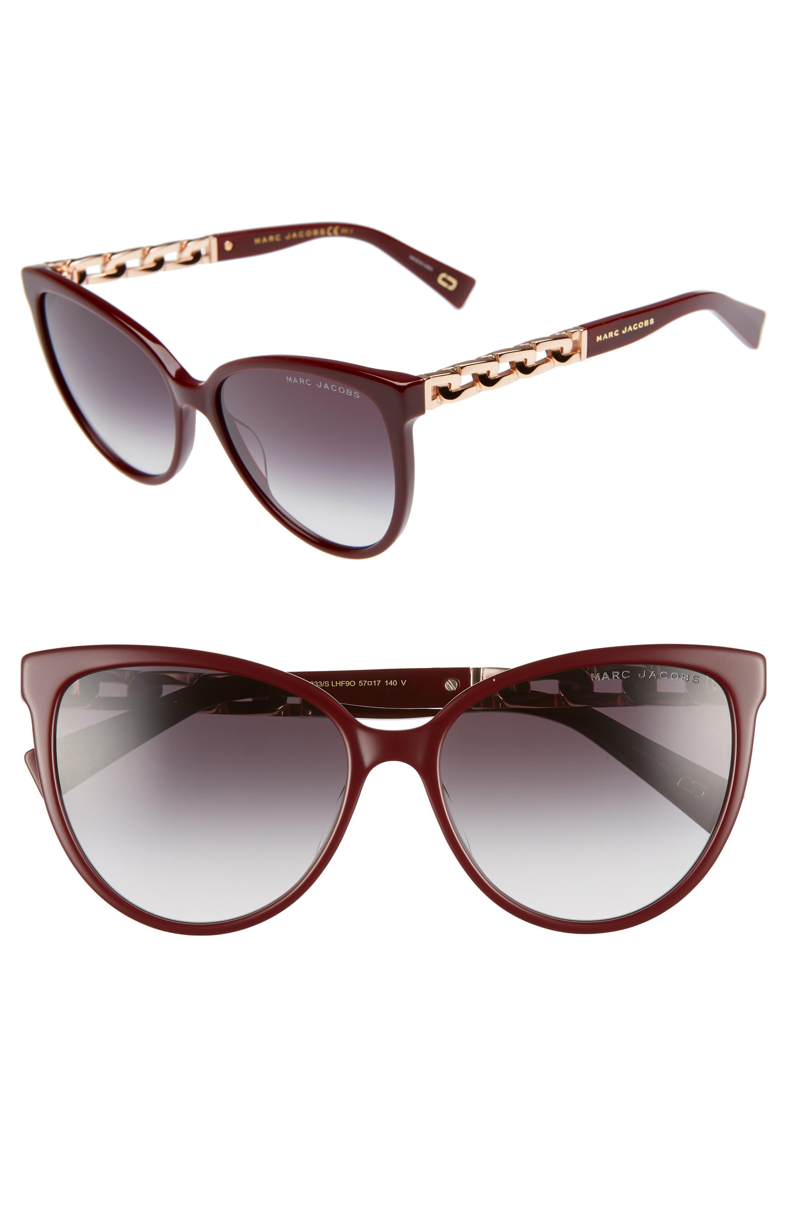 57Mm Gradient Cat Eye Sunglasses - Opal/ Burgundy