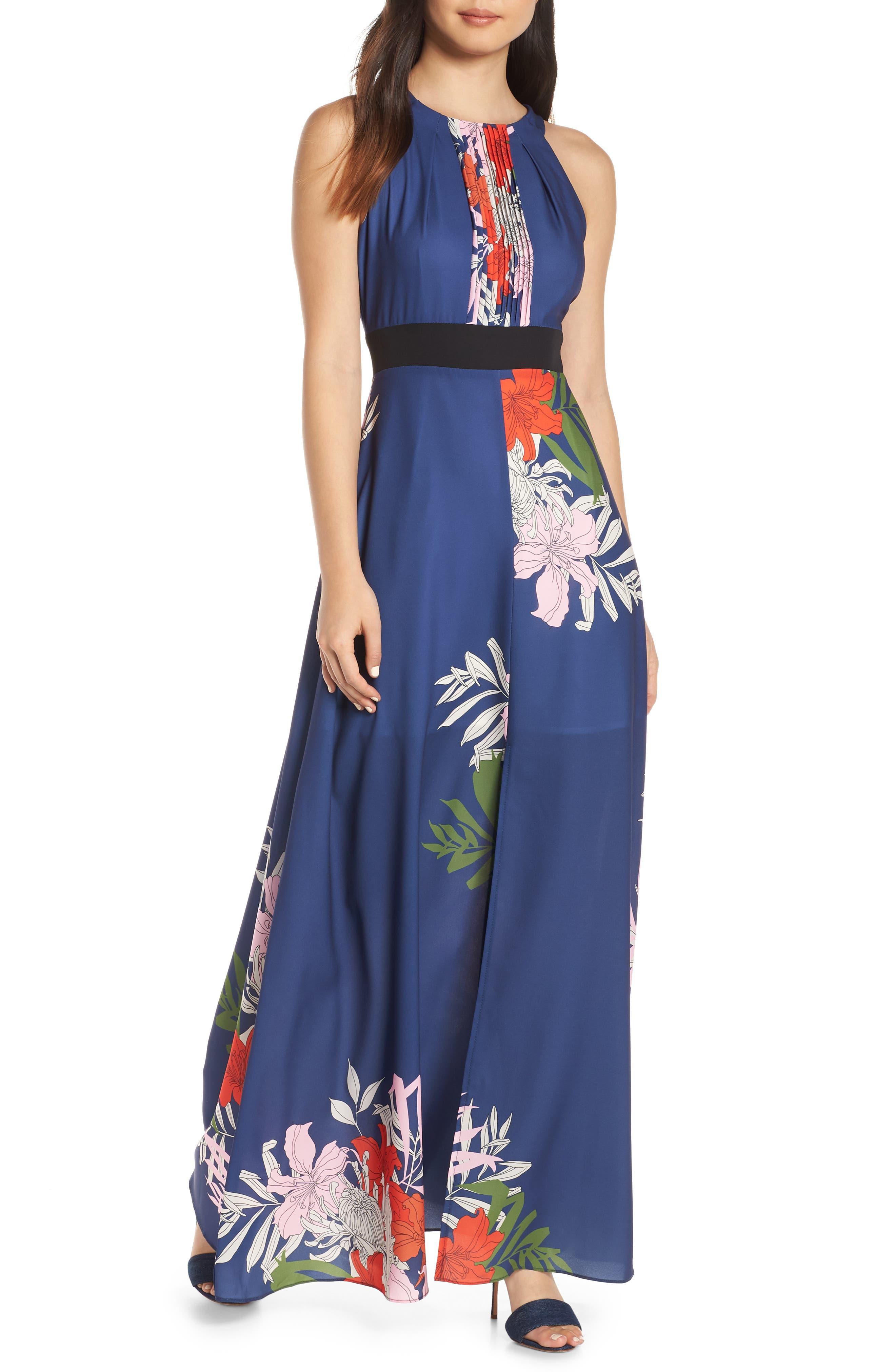 Palmira Maxi Dress,                             Main thumbnail 1, color,                             NAVY MULTI