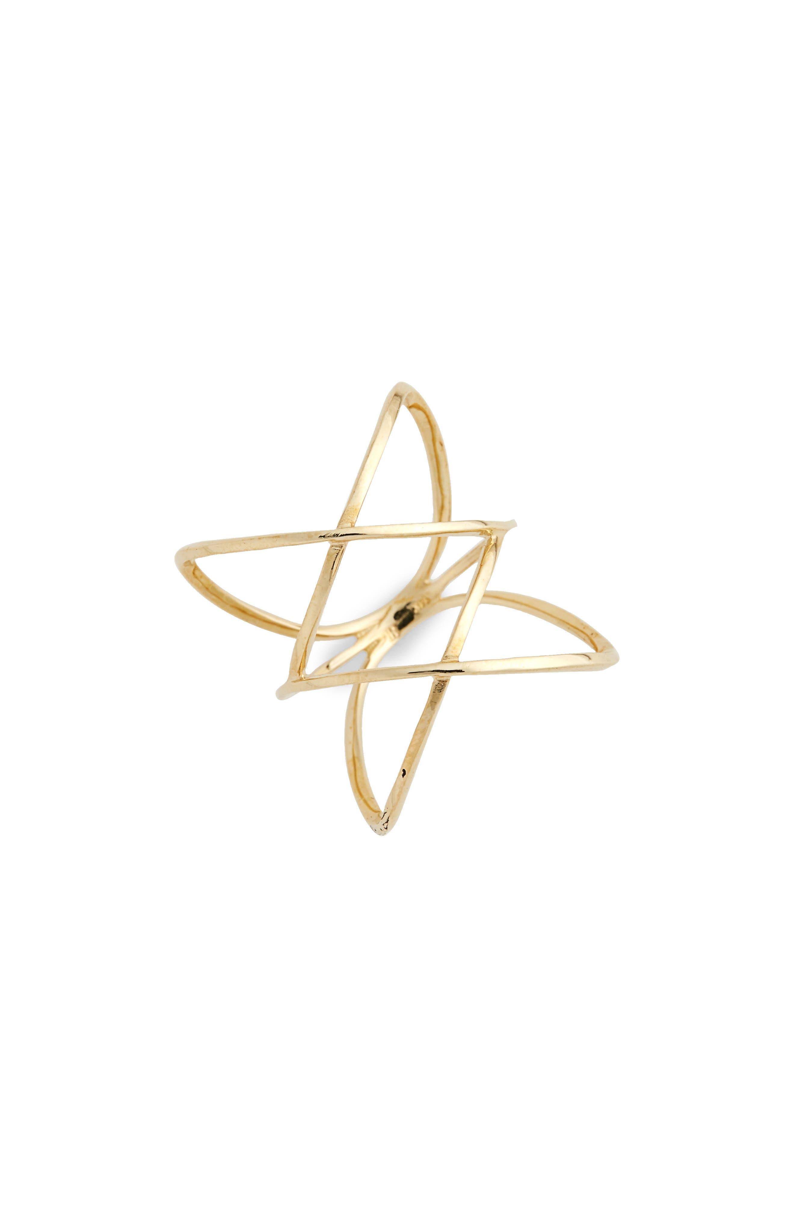 14KT Double Crisscross Ring,                             Alternate thumbnail 2, color,                             YELLOW GOLD
