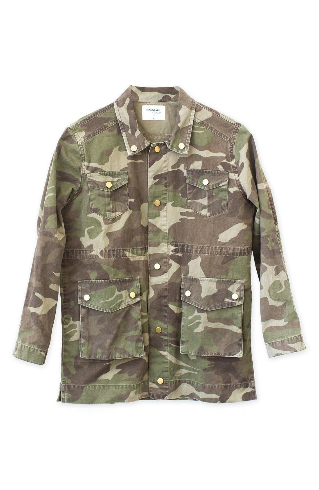 'Alexa' Camo Cotton Military Jacket,                             Alternate thumbnail 5, color,                             300