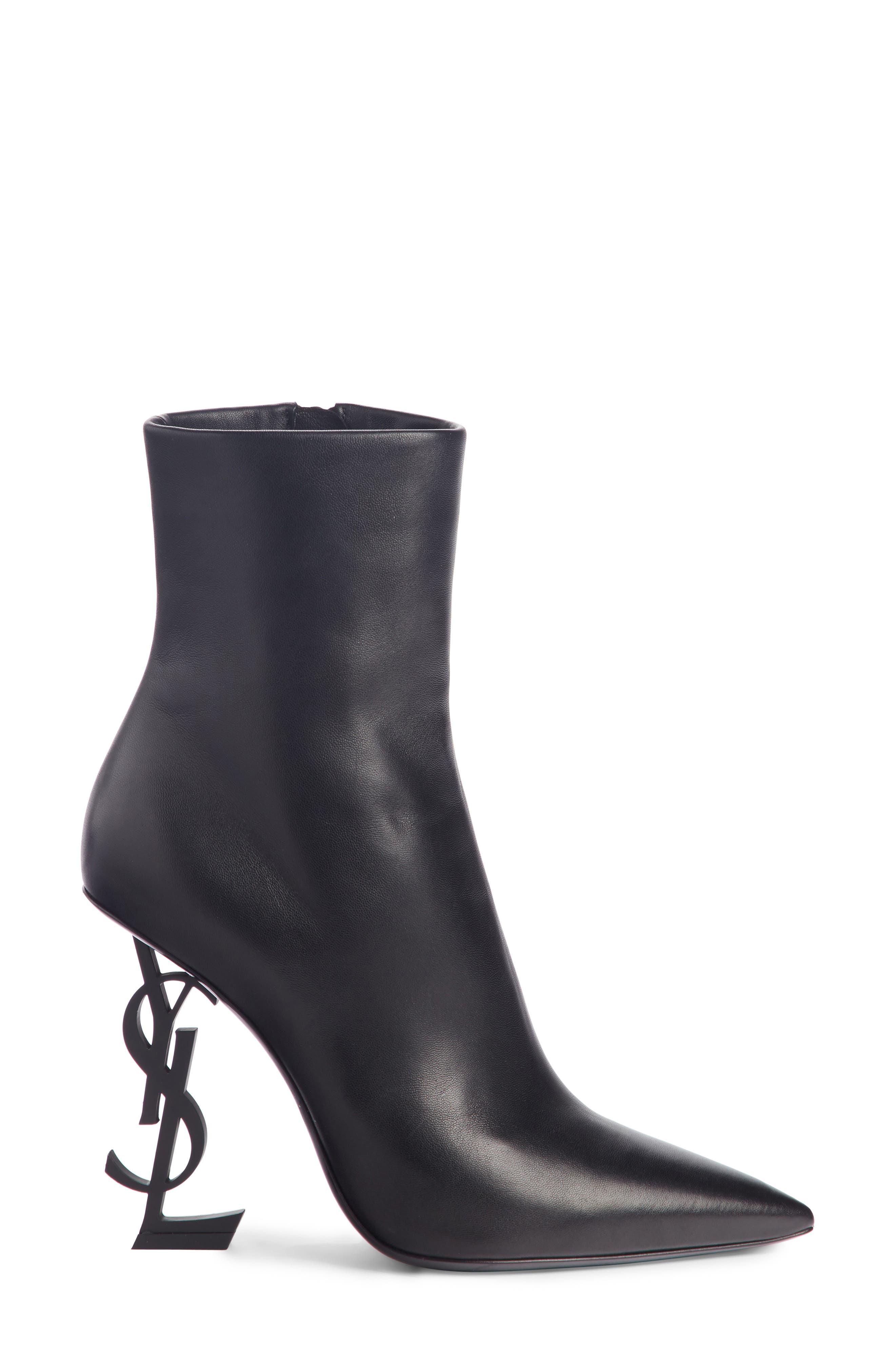 Opyum YSL Bootie,                             Alternate thumbnail 3, color,                             BLACK LEATHER
