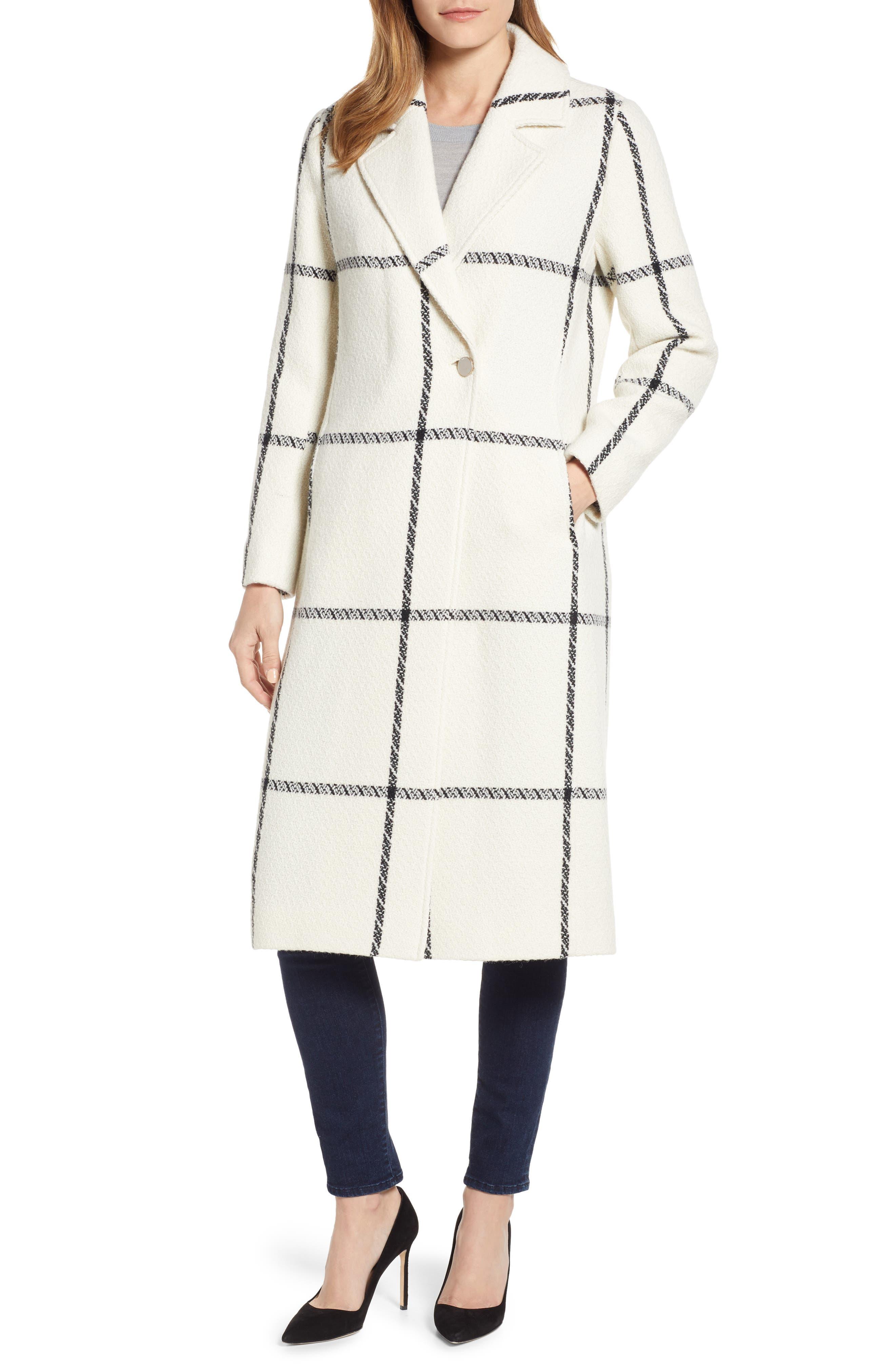TED BAKER LONDON,                             Soniq Check Wool Blend Long Coat,                             Main thumbnail 1, color,                             92-IVORY