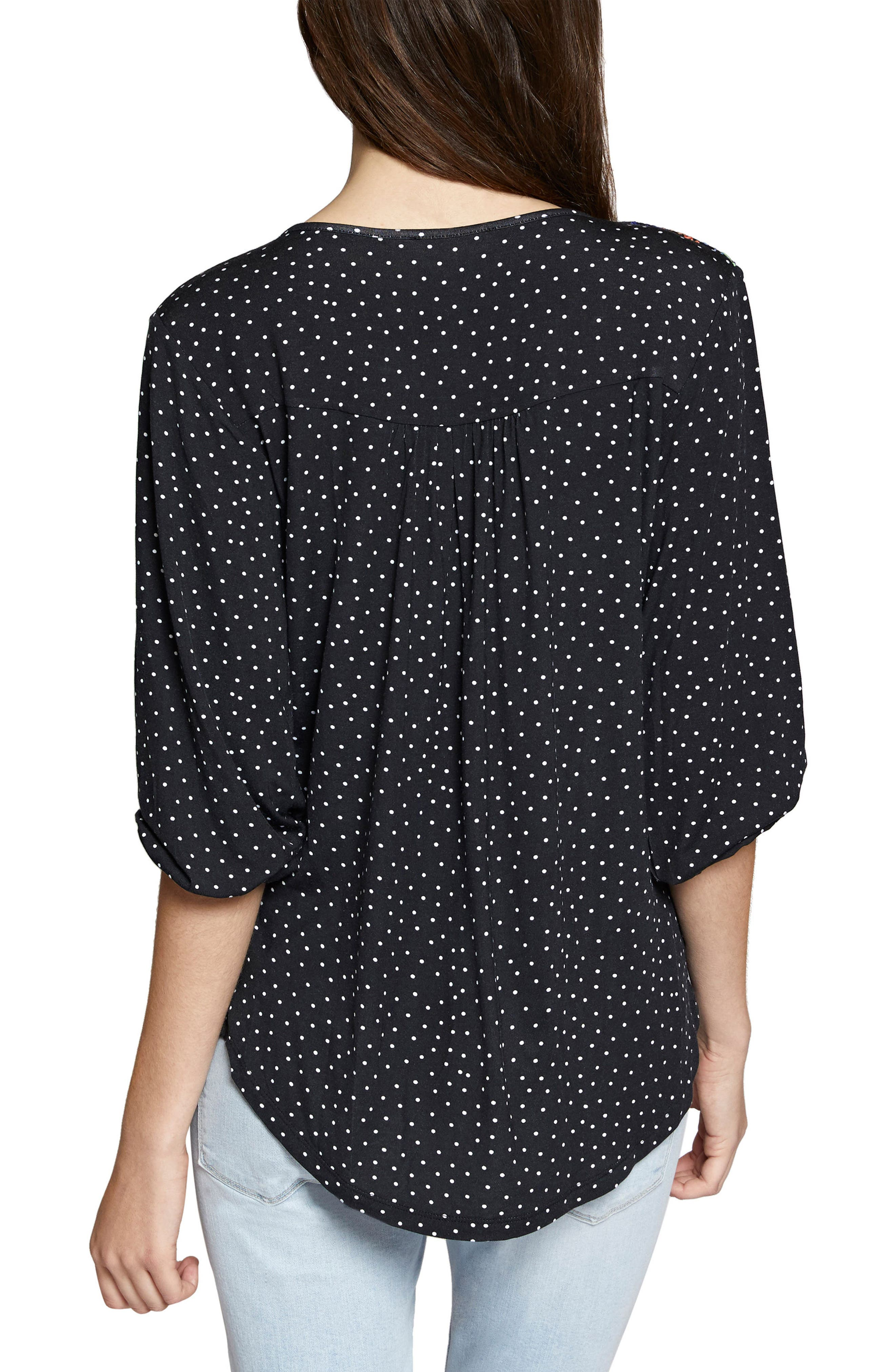 Anabelle Polka Dot Top,                             Alternate thumbnail 2, color,                             001