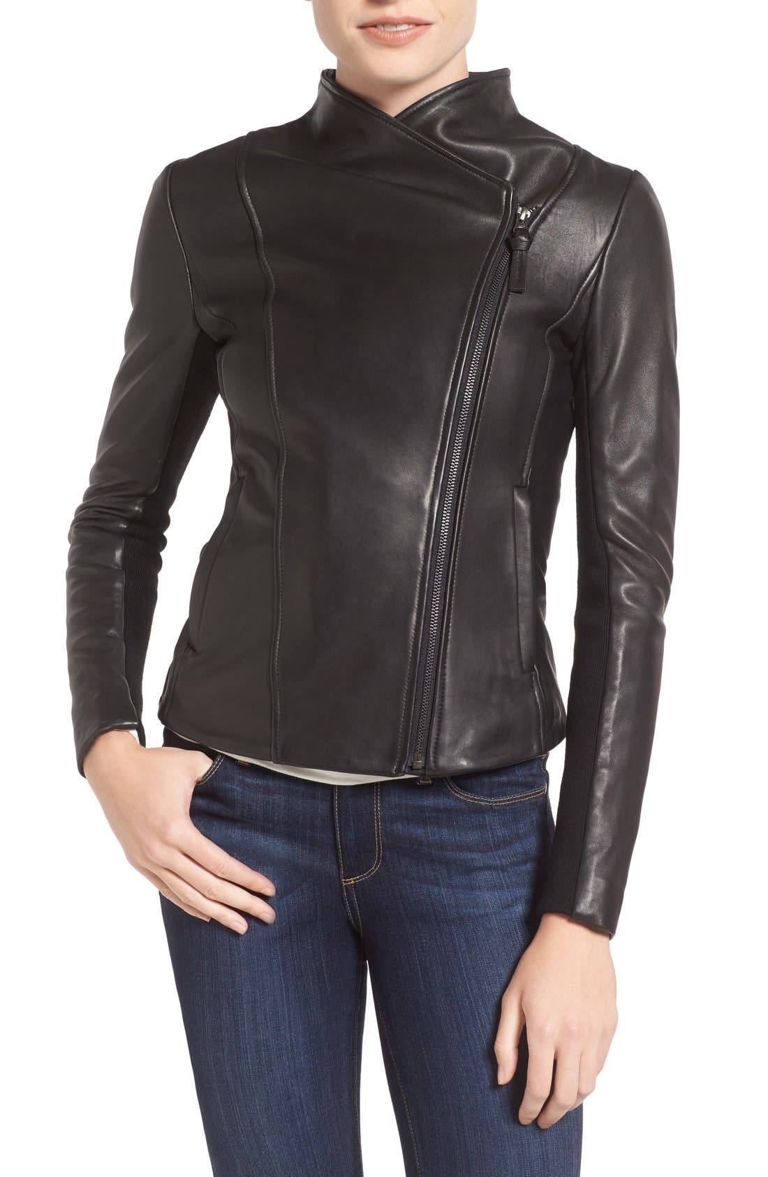 MACKAGE,                             Leather Jacket,                             Alternate thumbnail 4, color,                             001