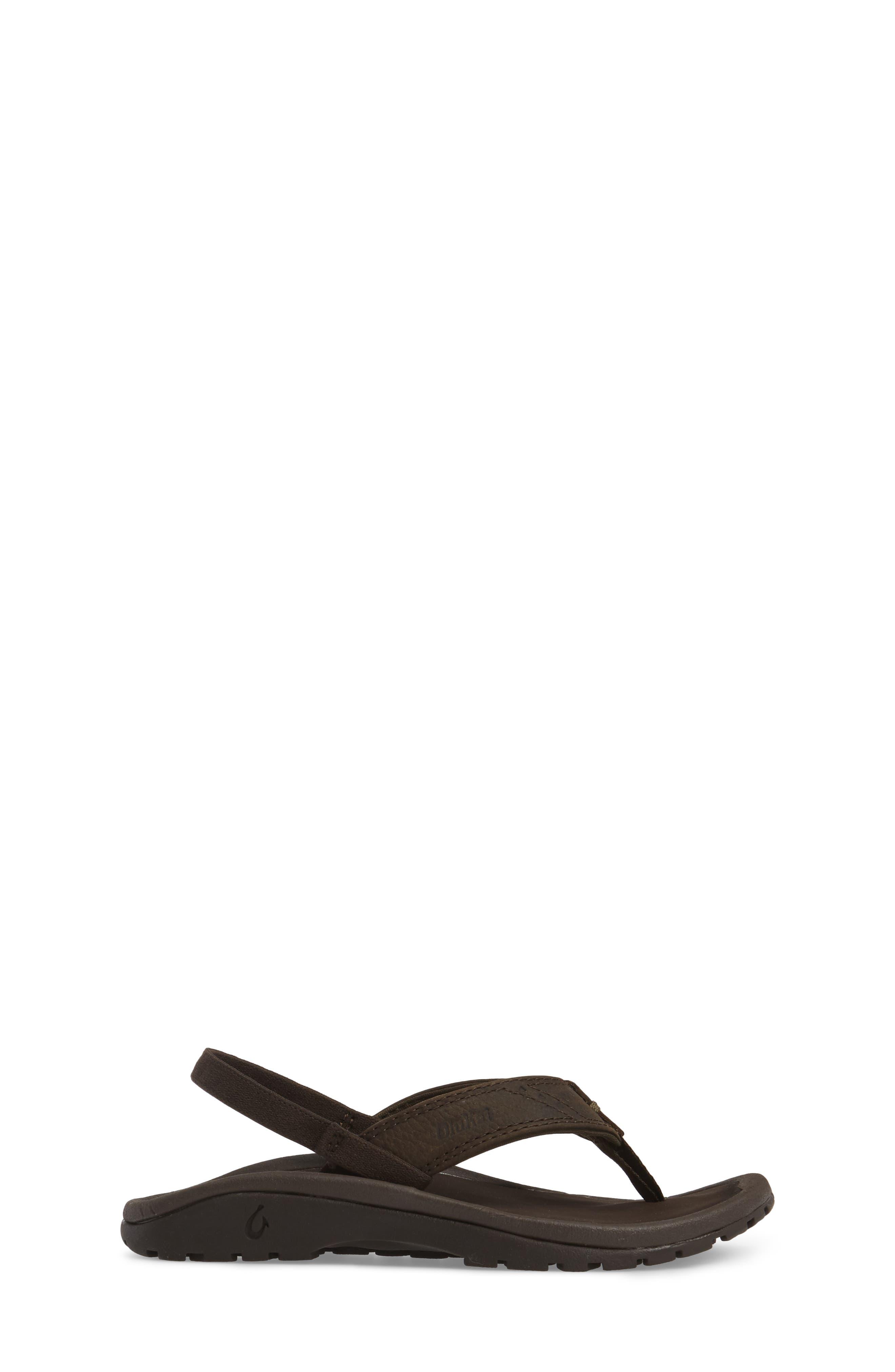OLUKAI,                             Nui Leather Sandal,                             Alternate thumbnail 3, color,                             SEAL BROWN/ DARK JAVA