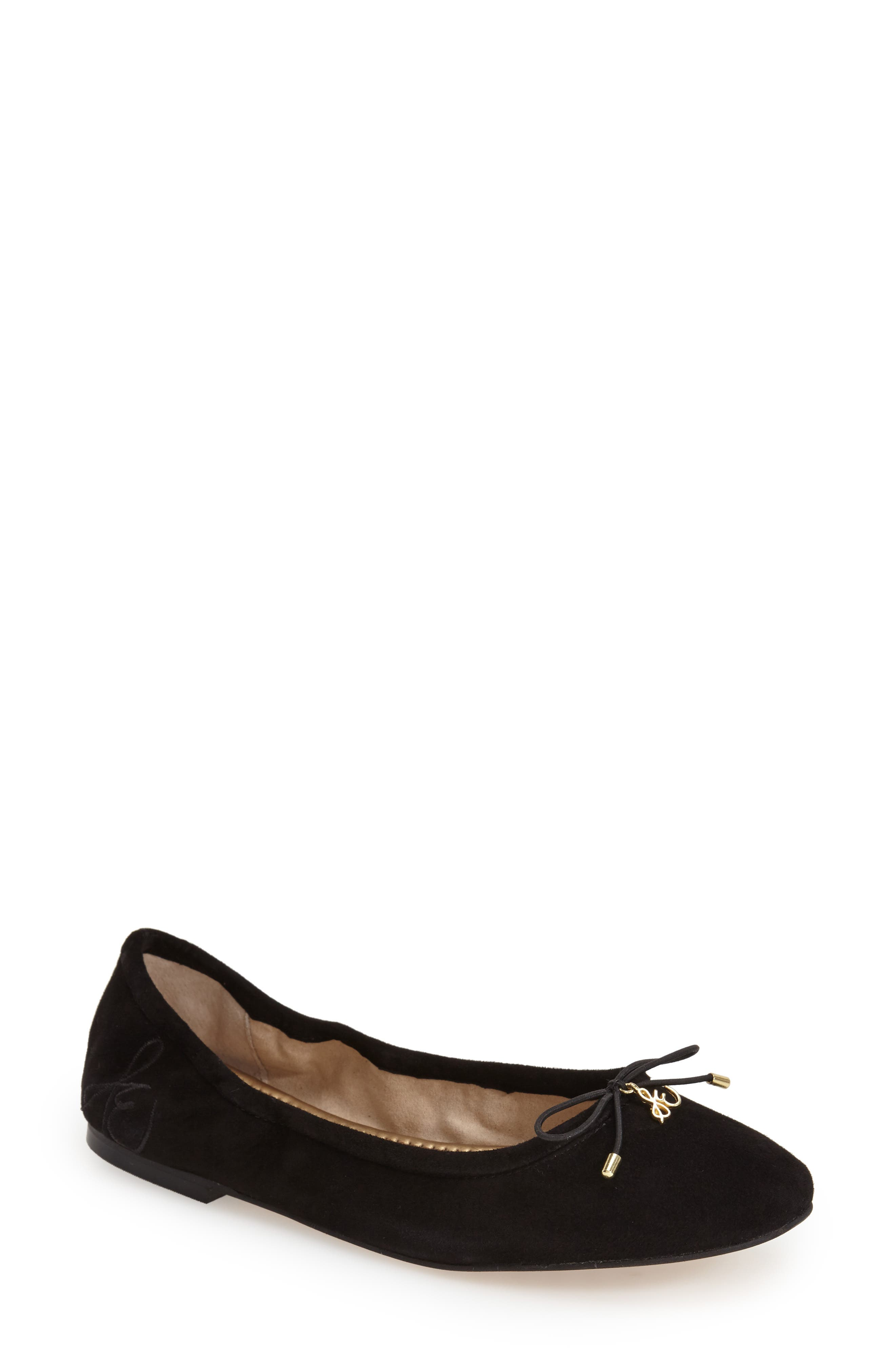 Felicia Flat,                         Main,                         color, BLACK SUEDE