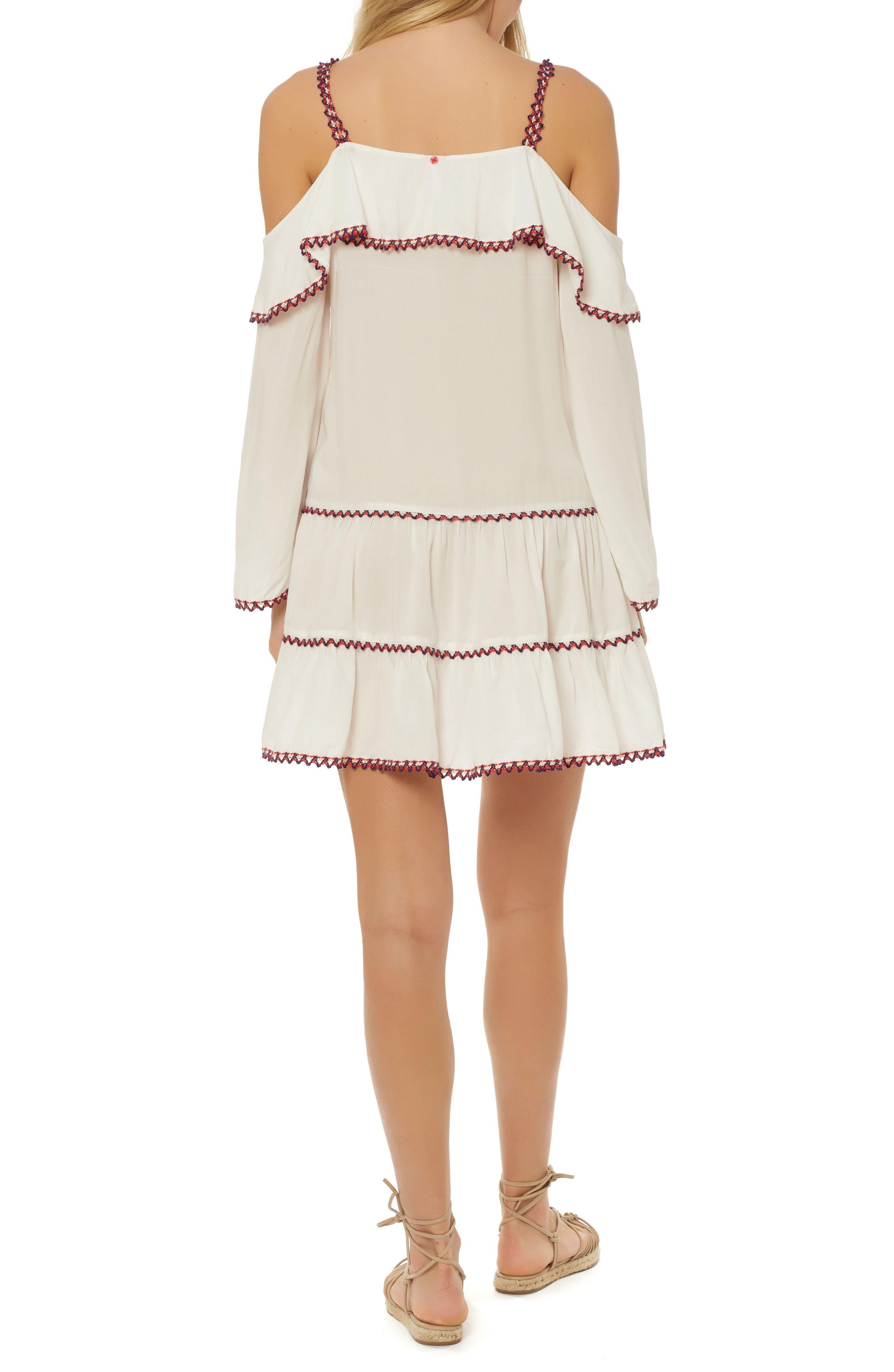 Cold Shoulder Cover-Up Dress,                             Alternate thumbnail 2, color,                             100