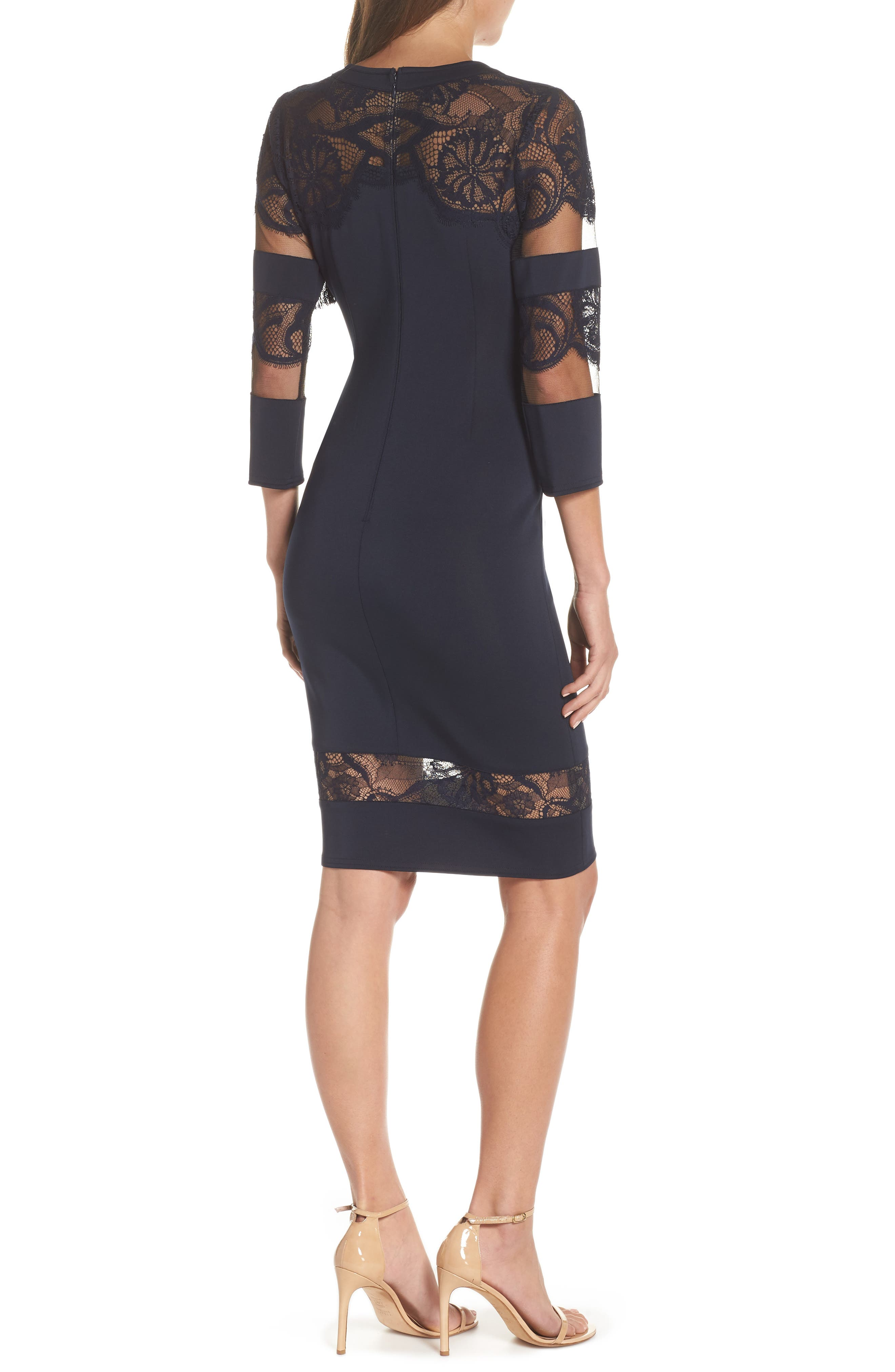 Fringe Sheath Dress,                             Alternate thumbnail 2, color,                             NAVY
