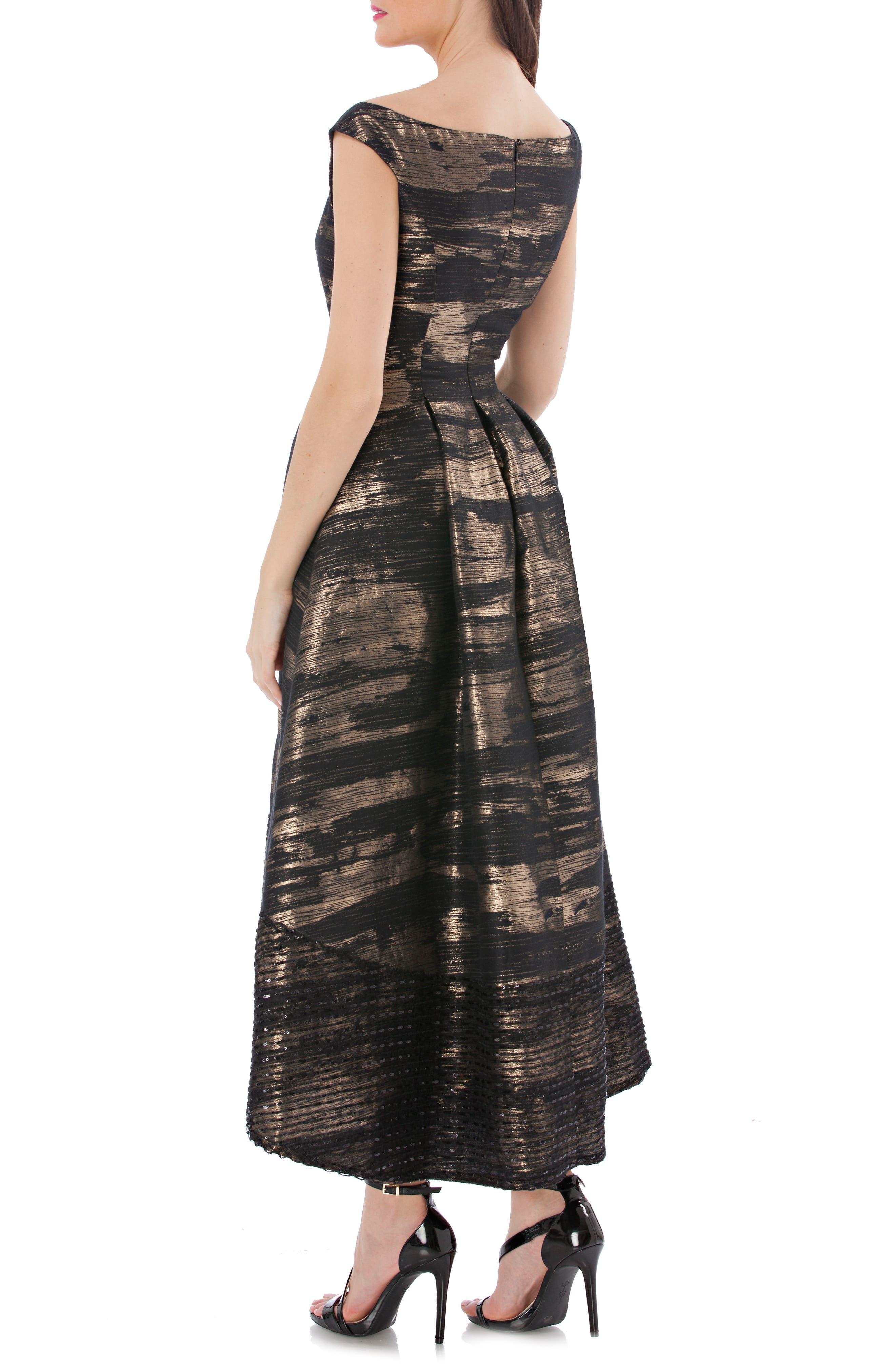 Brocade Off the Shoulder Dress,                             Alternate thumbnail 2, color,                             008