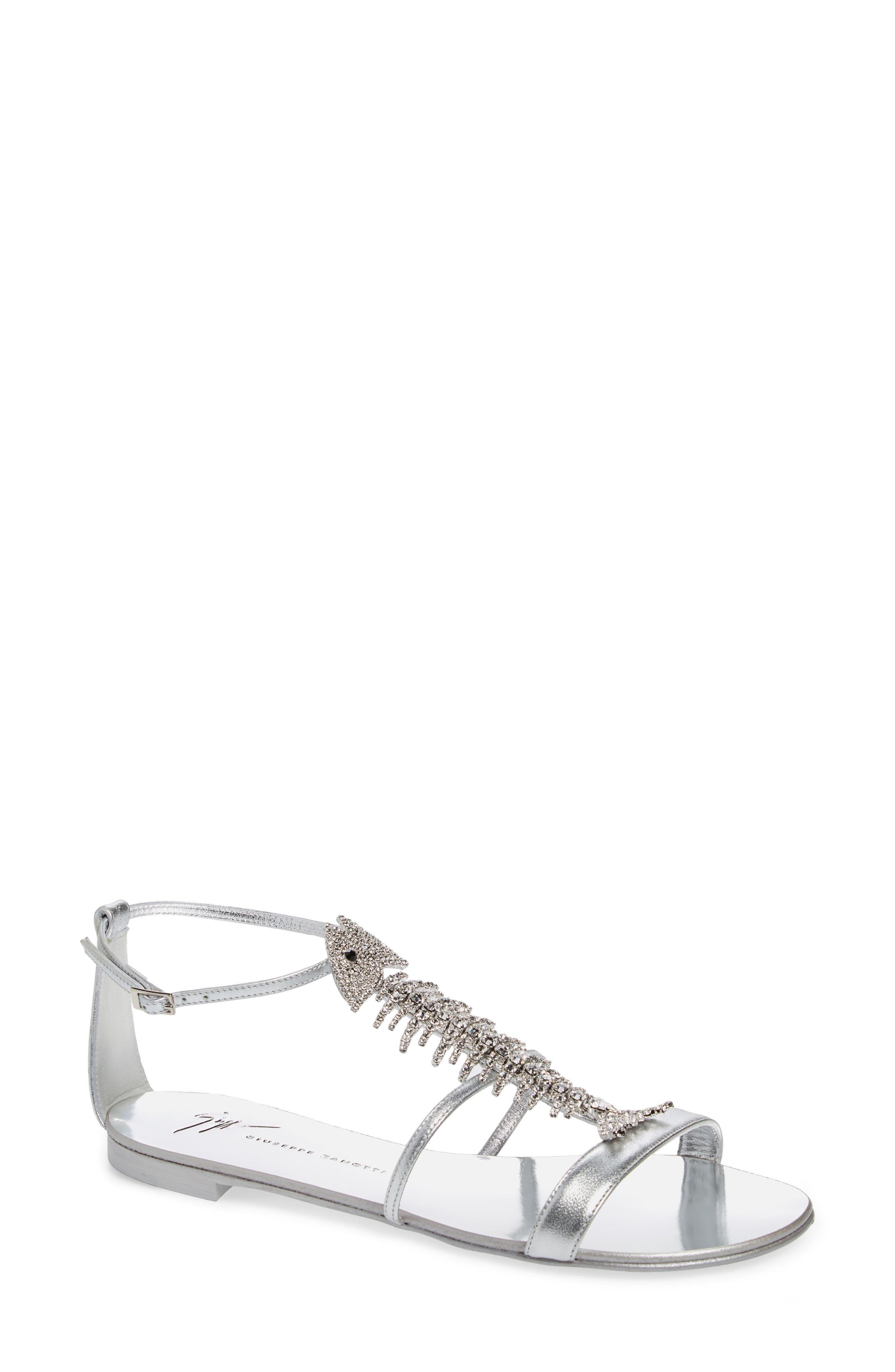 Embellished Fish Skeleton Sandal,                         Main,                         color, SILVER