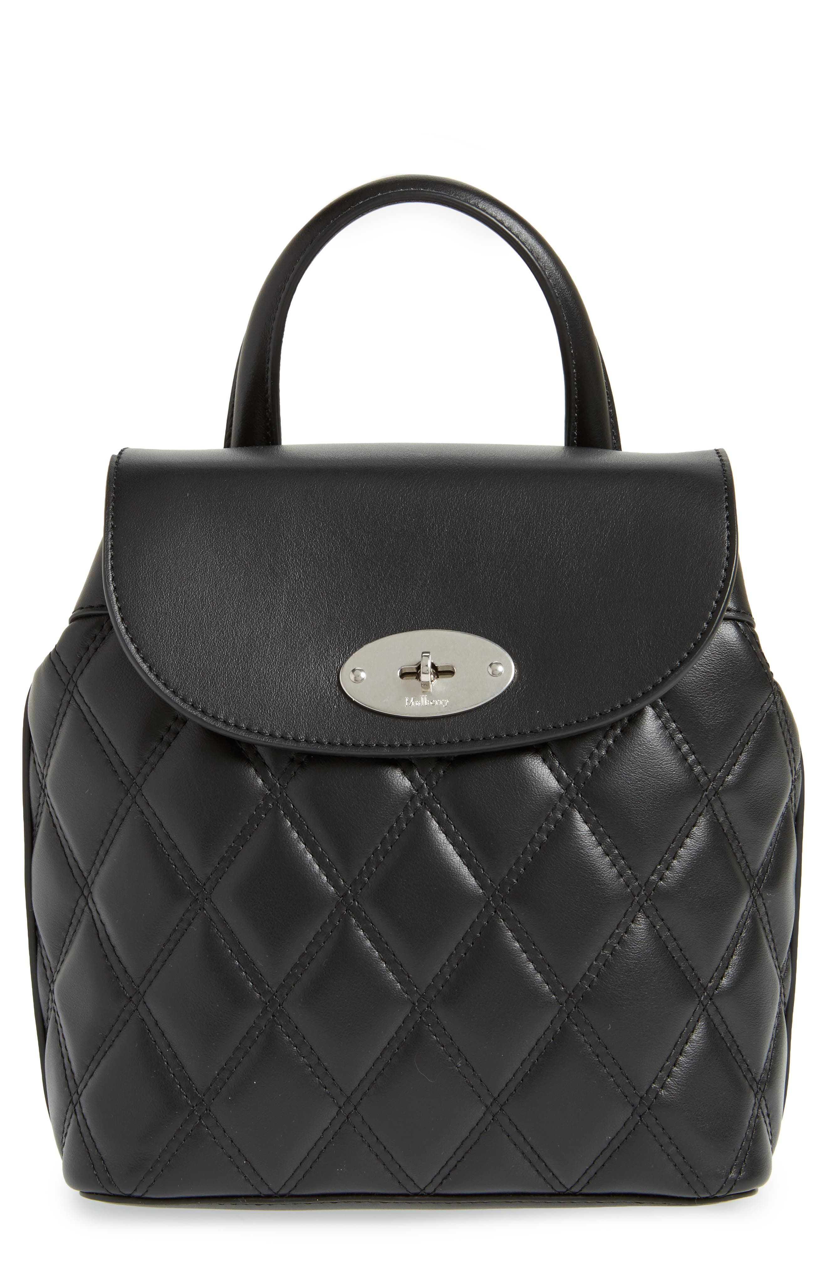 Mini Bayswater Quilted Calfskin Leather Convertible Backpack,                         Main,                         color, BLACK/ SILVER