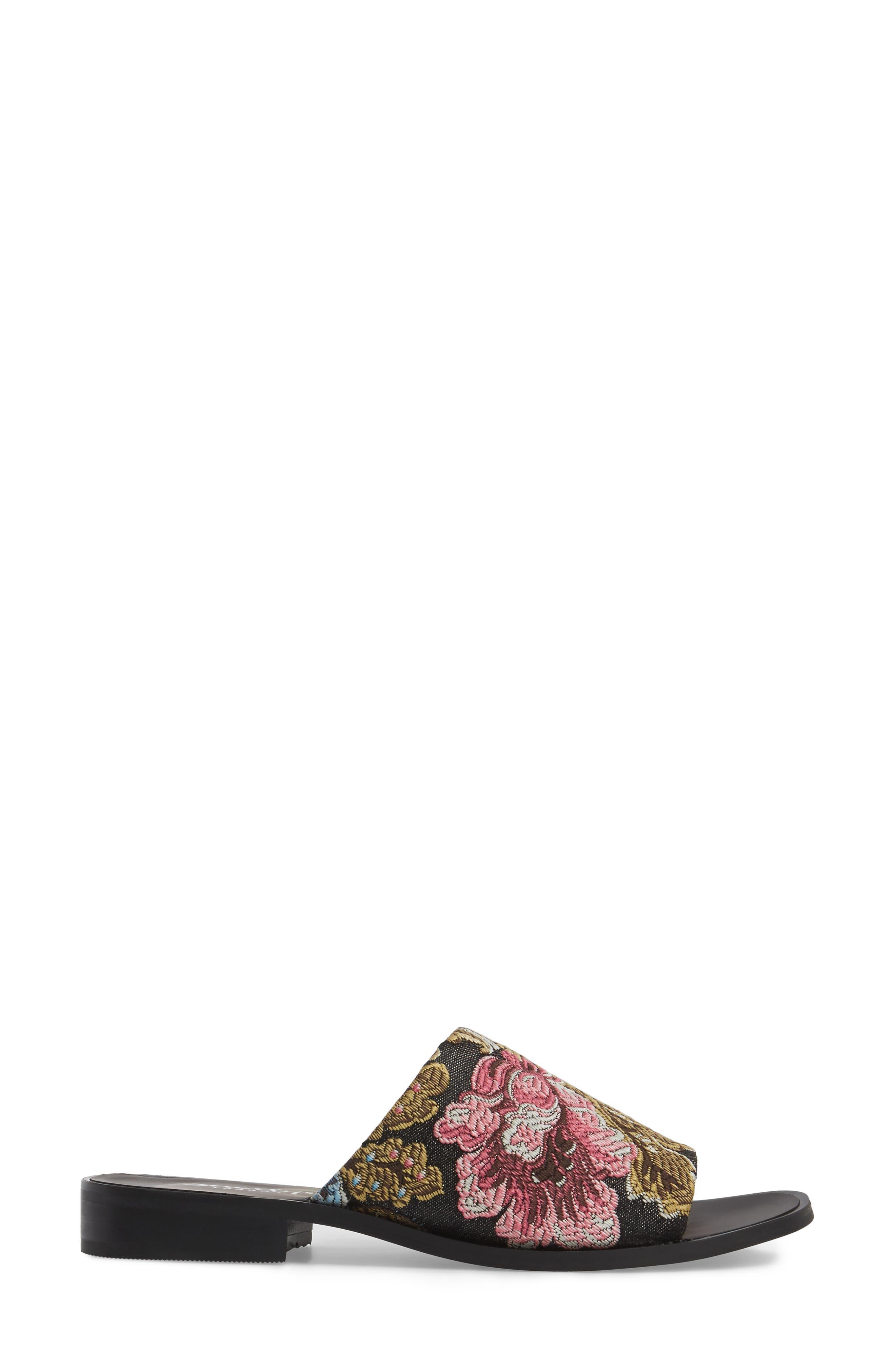 Enya Brocade Slide Sandal,                             Alternate thumbnail 3, color,                             001