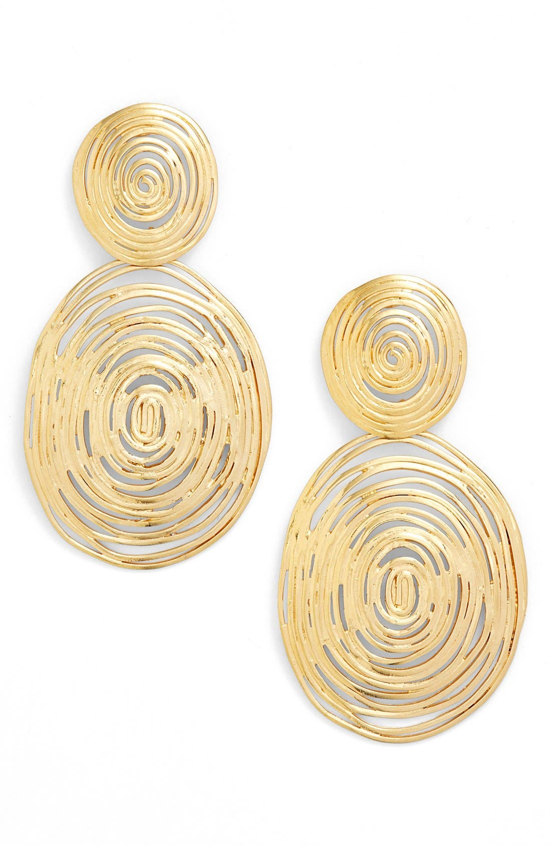 Wave Double Drop Earrings,                             Main thumbnail 1, color,                             GOLD