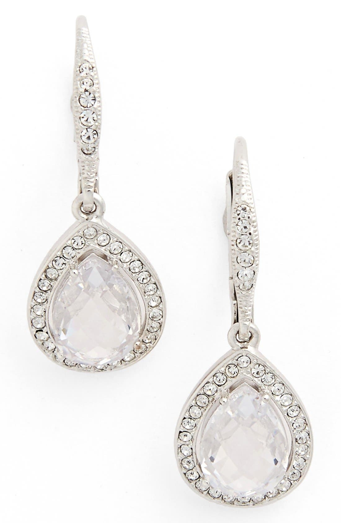 Pear Drop Earrings,                             Main thumbnail 1, color,                             CLEAR CRYSTAL/ SILVER