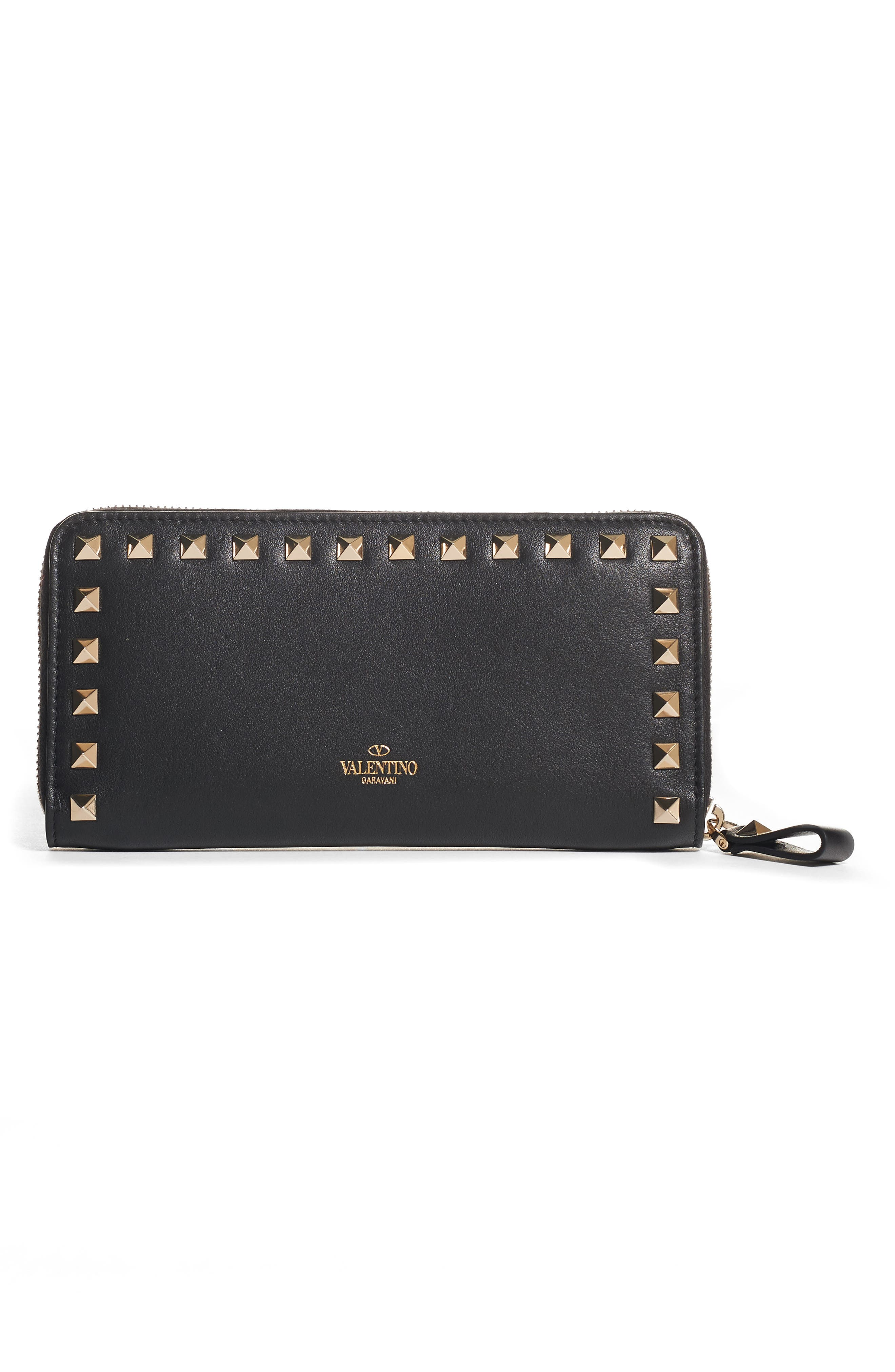 Rockstud Continental Leather Wallet,                         Main,                         color, 001