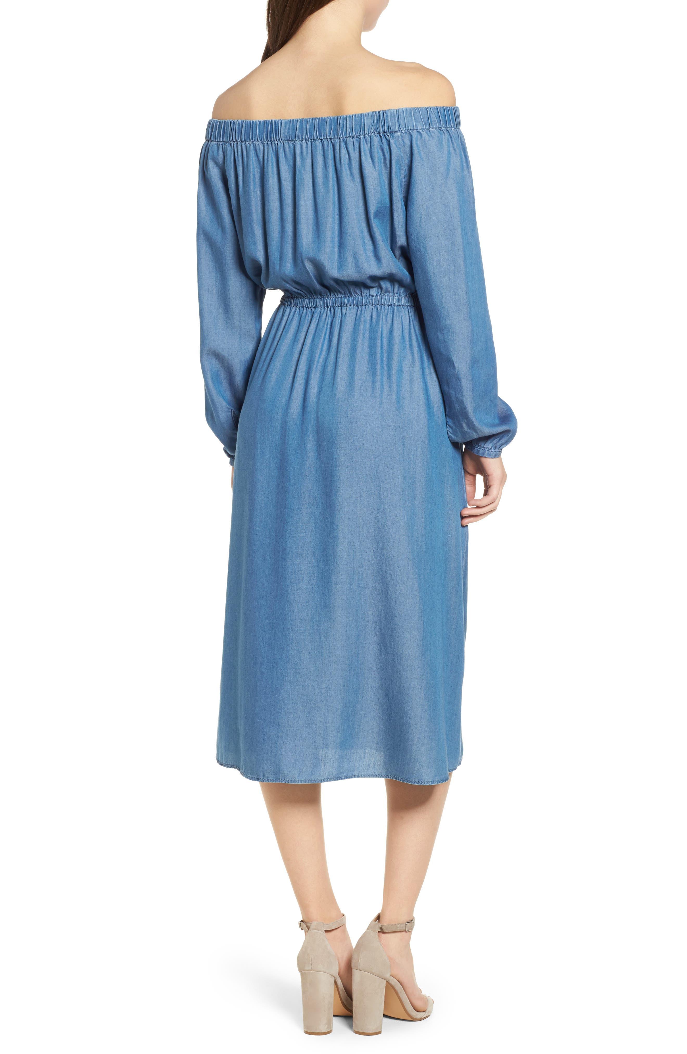 Off the Shoulder Midi Dress,                             Alternate thumbnail 2, color,                             401
