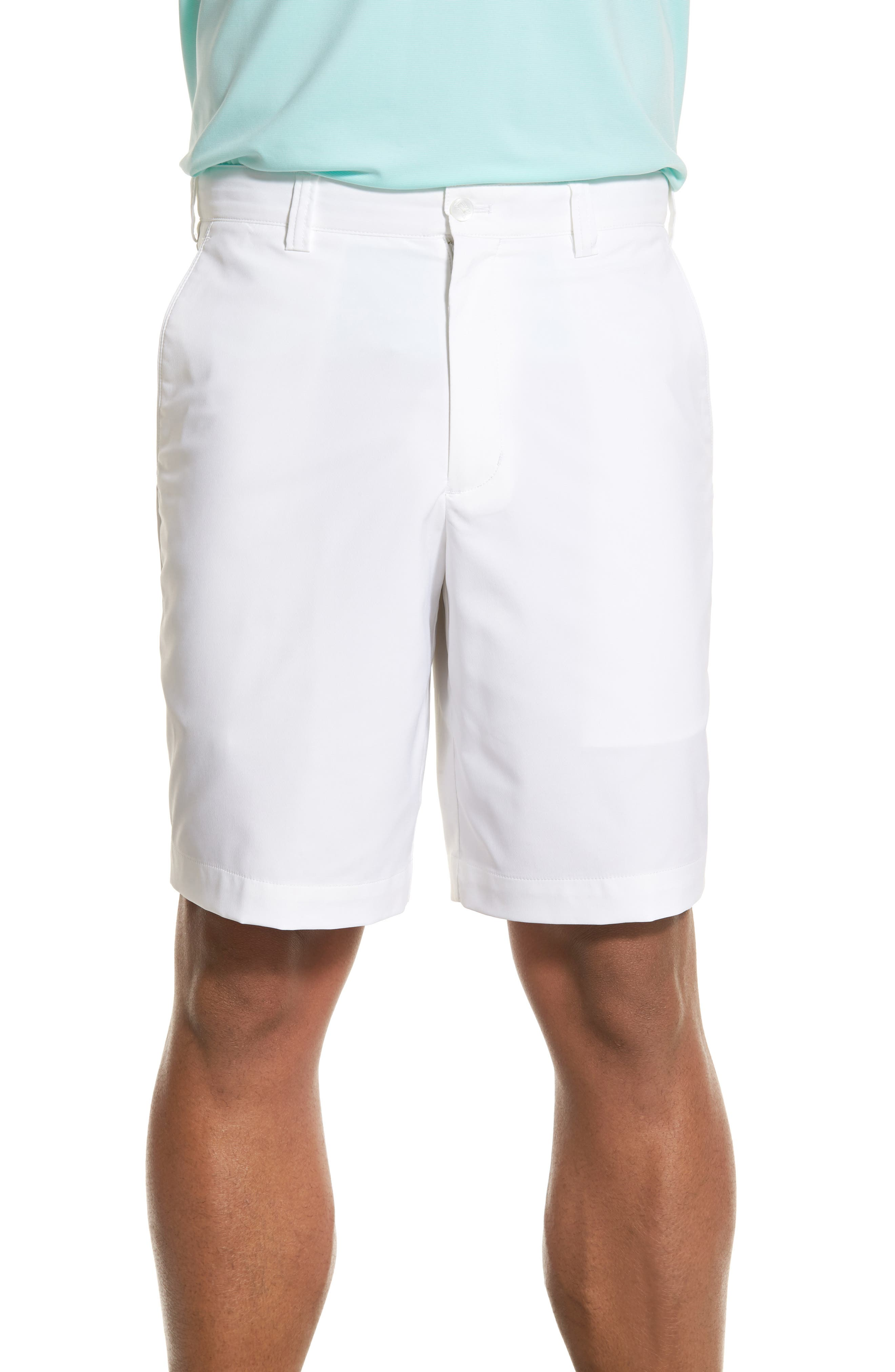 Bainbridge DryTec Flat Front Shorts,                             Alternate thumbnail 4, color,                             WHITE
