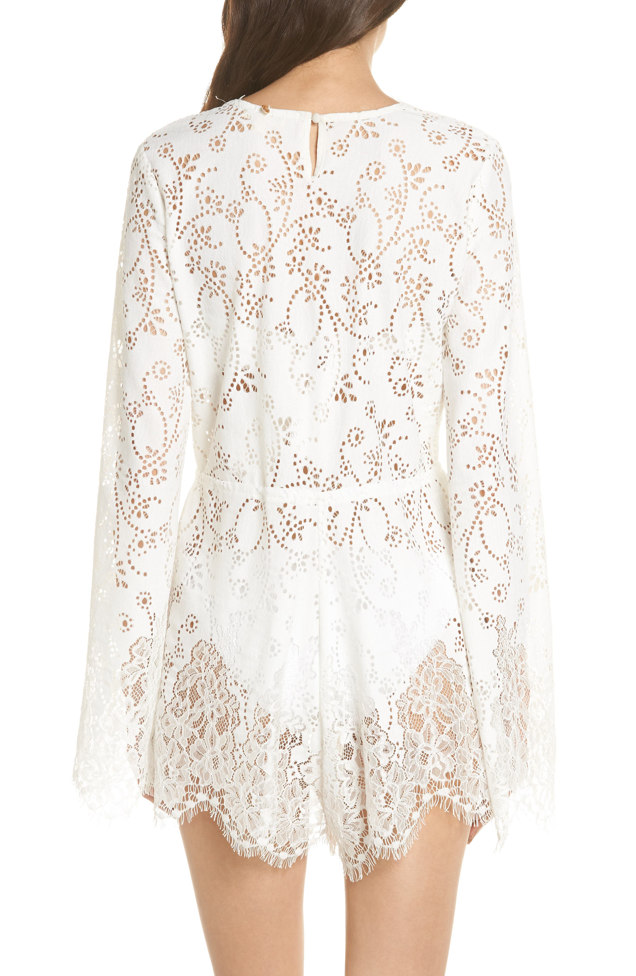 Olympia Lace Cover-Up Romper,                             Alternate thumbnail 4, color,