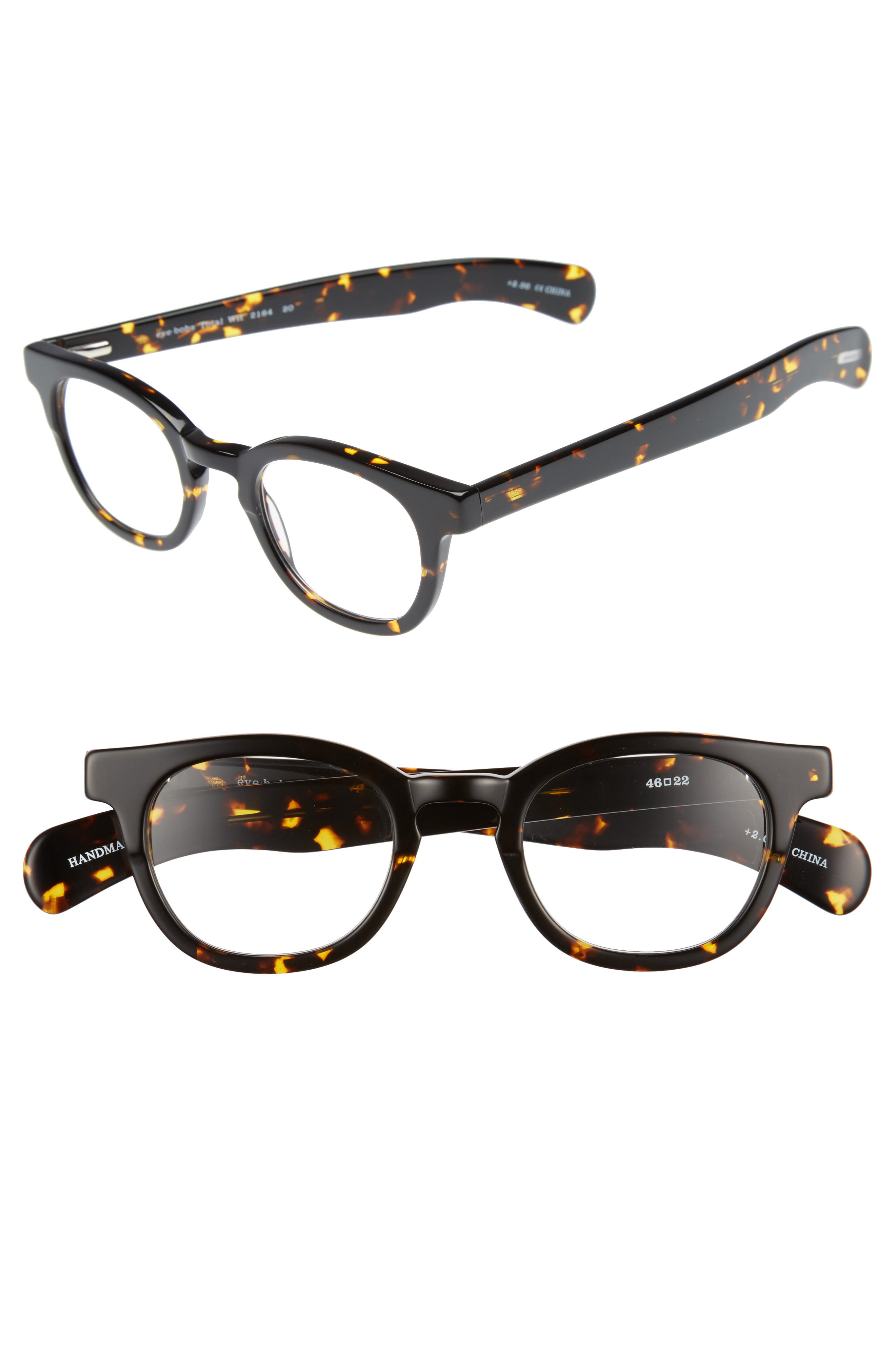 Total Wit 46mm Reading Glasses,                         Main,                         color, TORTOISE
